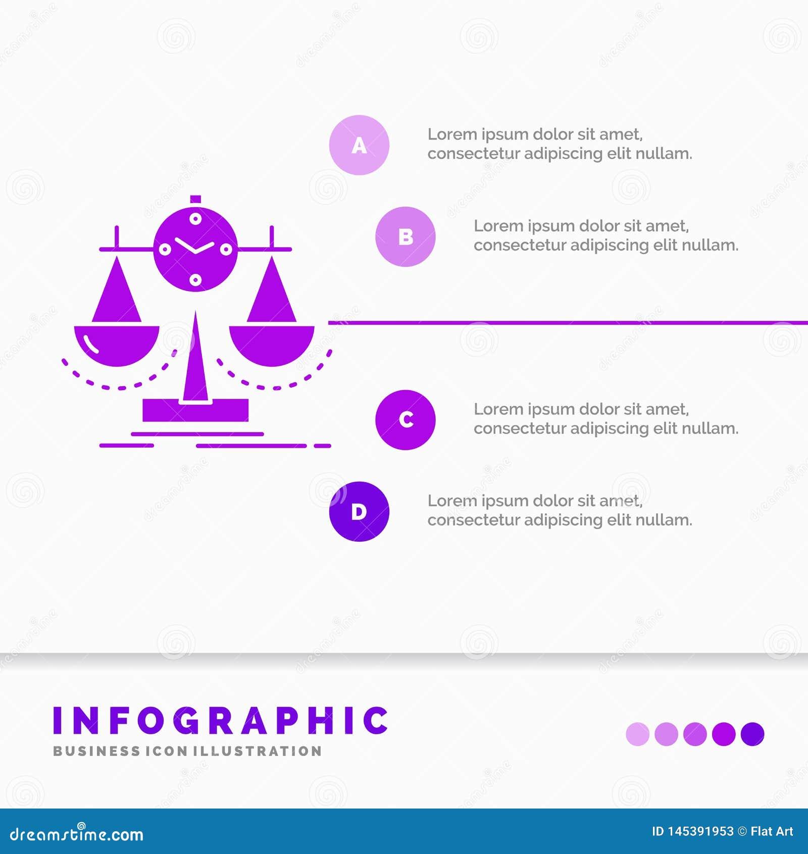 Balanciert, Management, Maß, Spielstandskarte, Strategie Infographics-Schablone für Website und Darstellung Purpurrote Ikone des