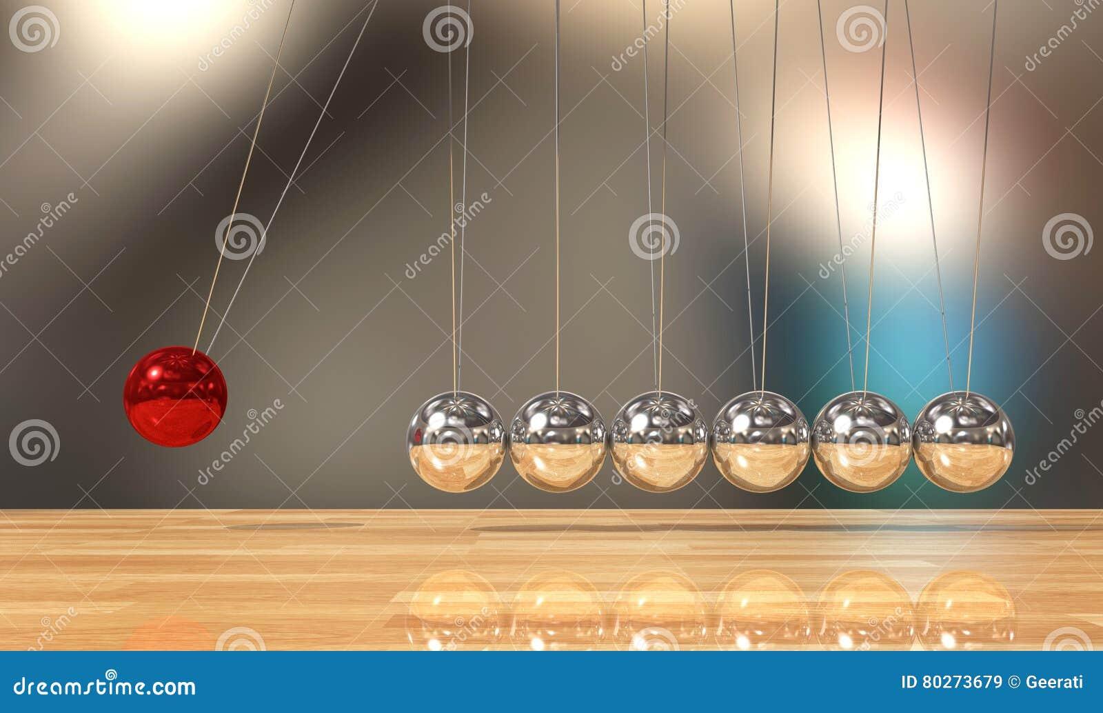 Balancing ball Newton`s cradle pendulum