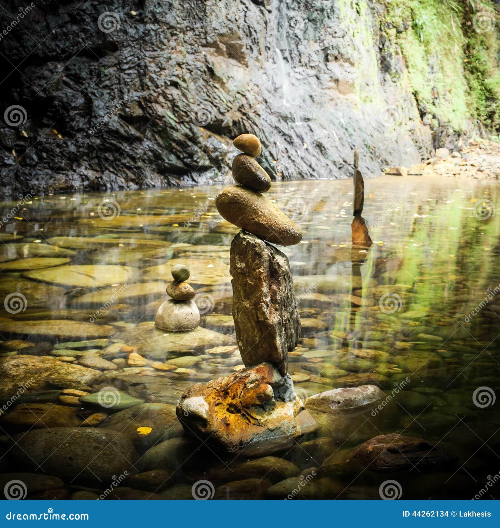 Balancing Rocks Tower For Zen Meditation Practice Stock