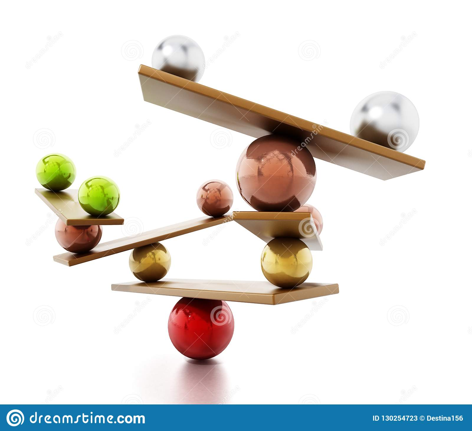 Balancing spheres standing in balance on seesaws. 3D illustration