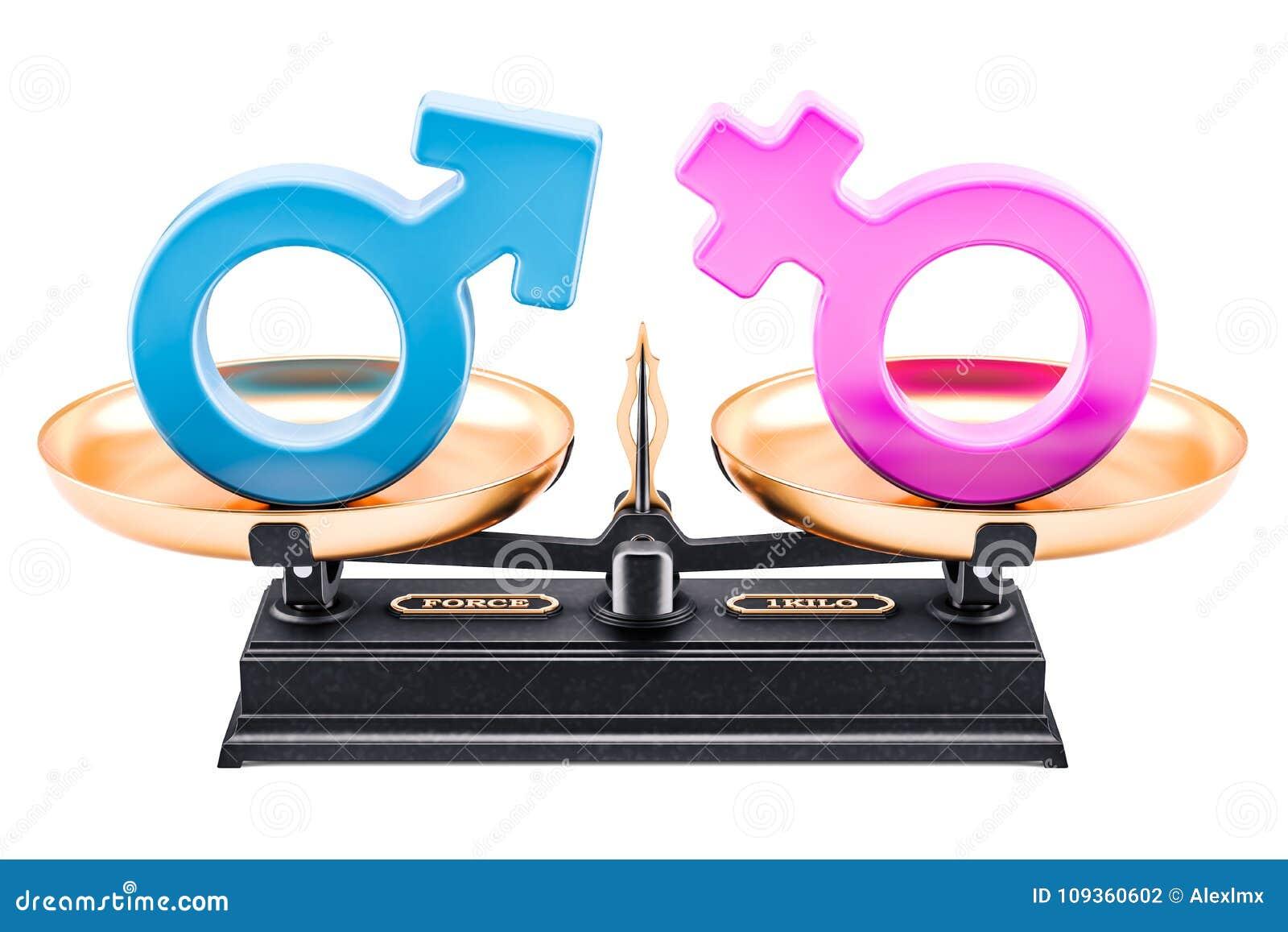 Balansera begreppet, jämställdhet av män och kvinnor framförande 3d