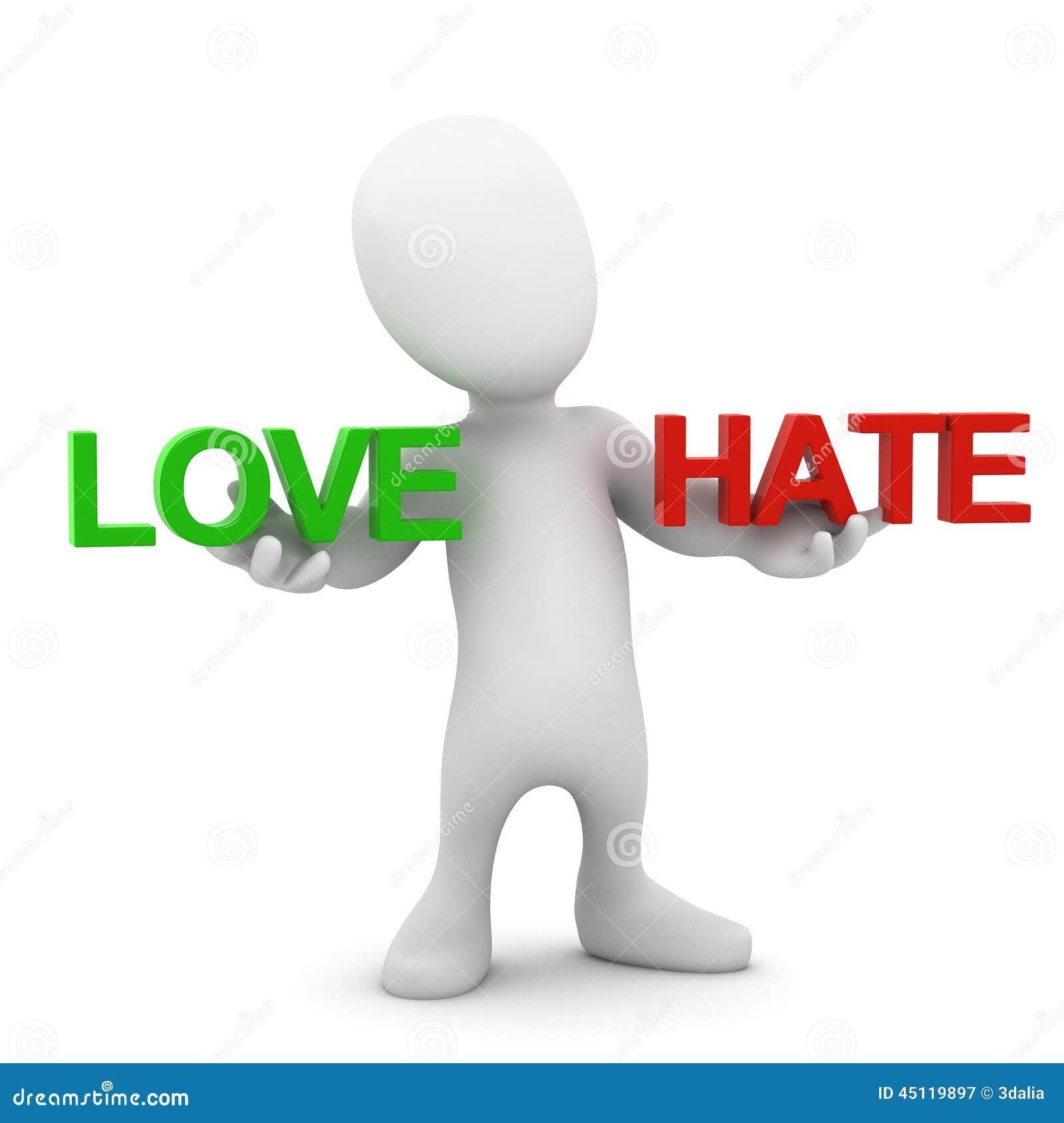 Balanserar den lilla mannen 3d förälskelse och hat