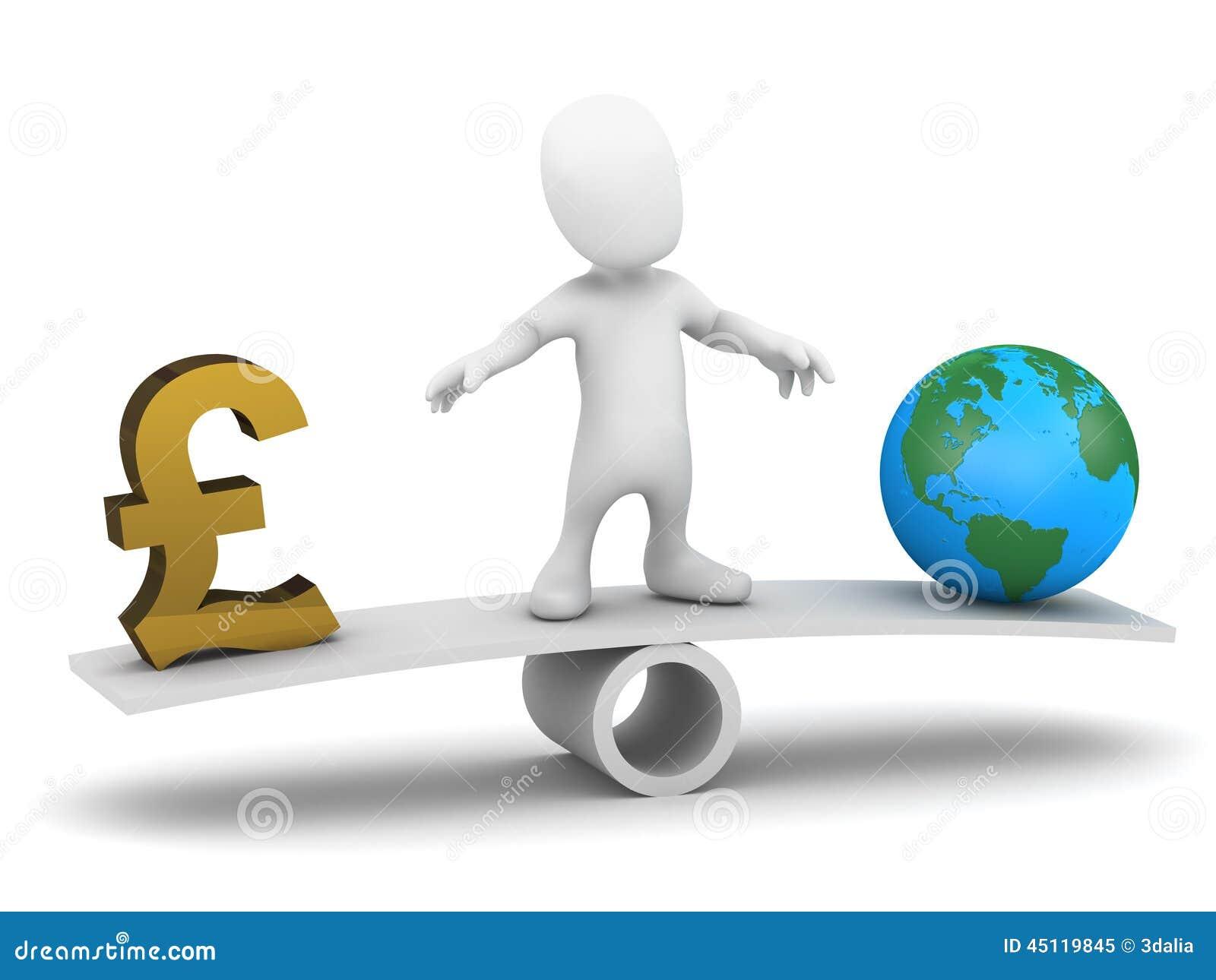 Balanserar den lilla mannen 3d pengar och världen