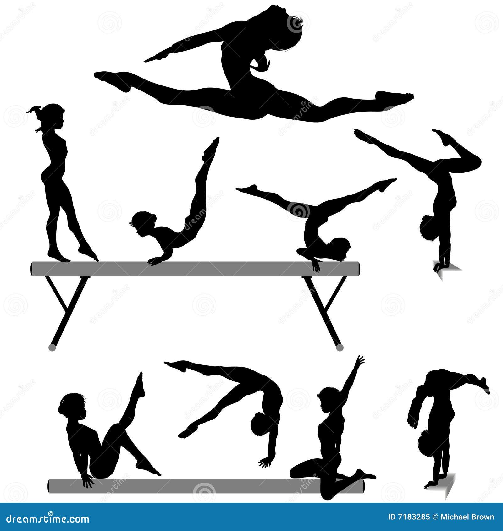 Balansowego promienia gimnastyczki gimnastyk sylwetka