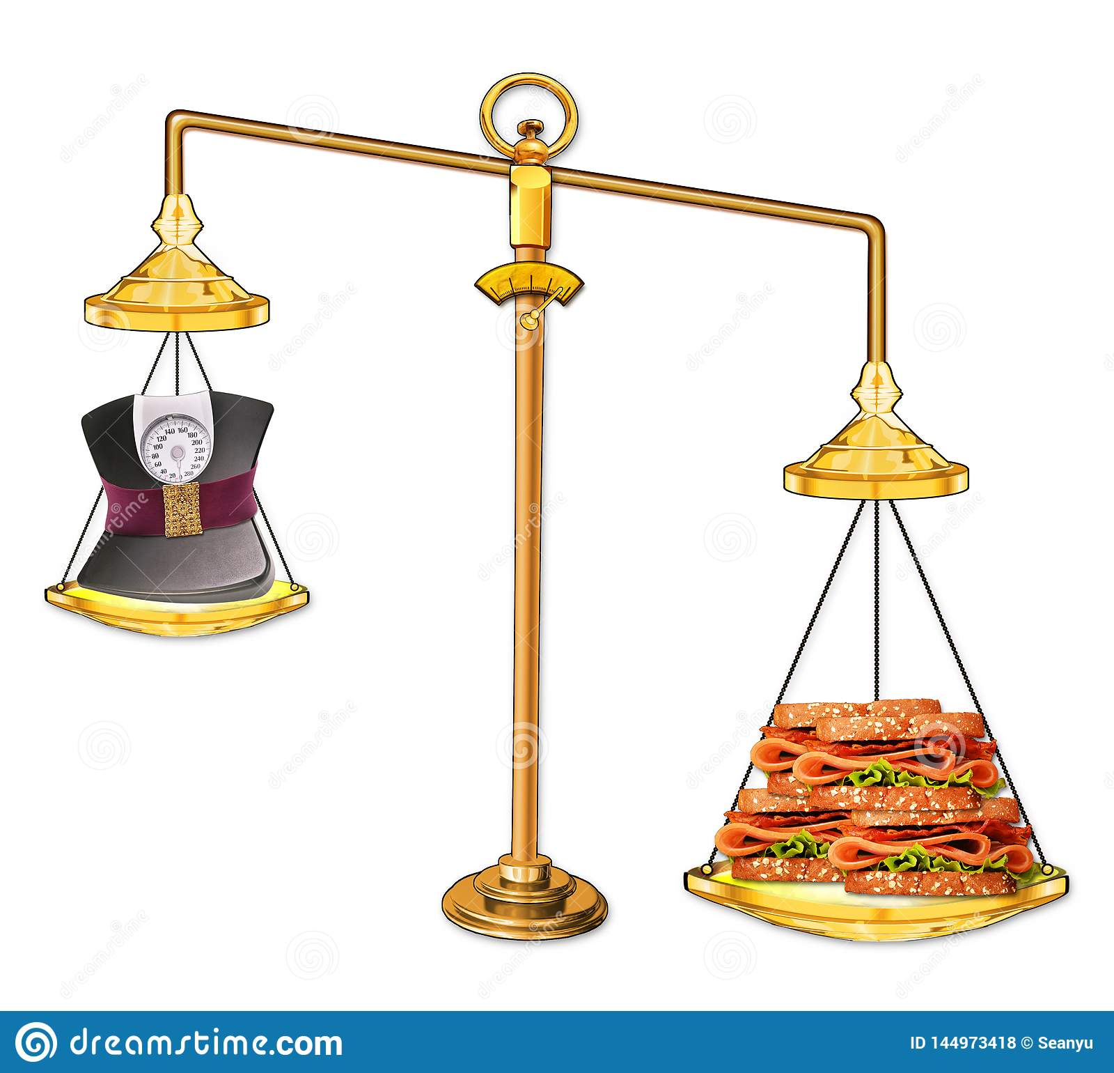Balansowy jedzenie z ciężarem