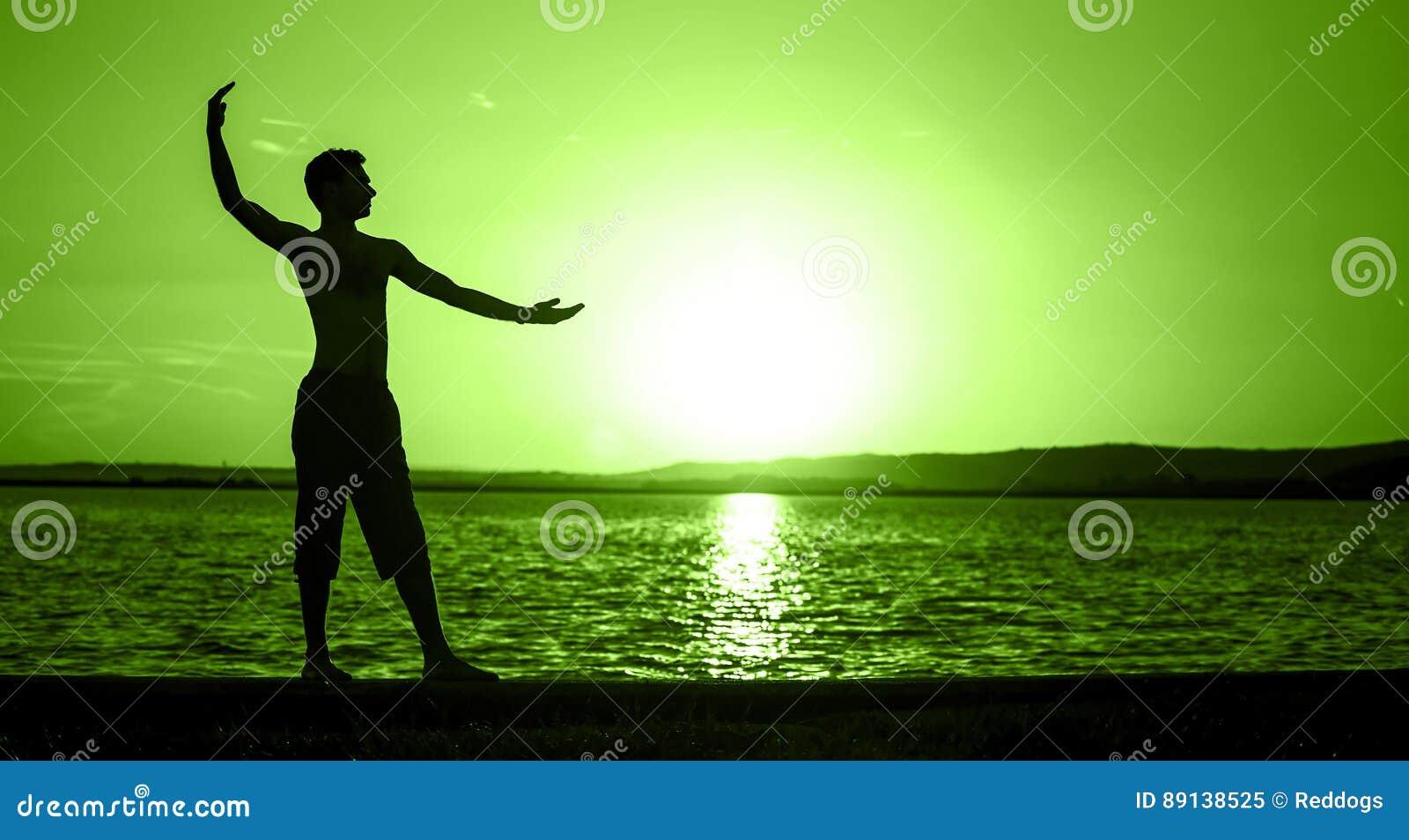 Balansowy pojęcie sztandar w zieleni