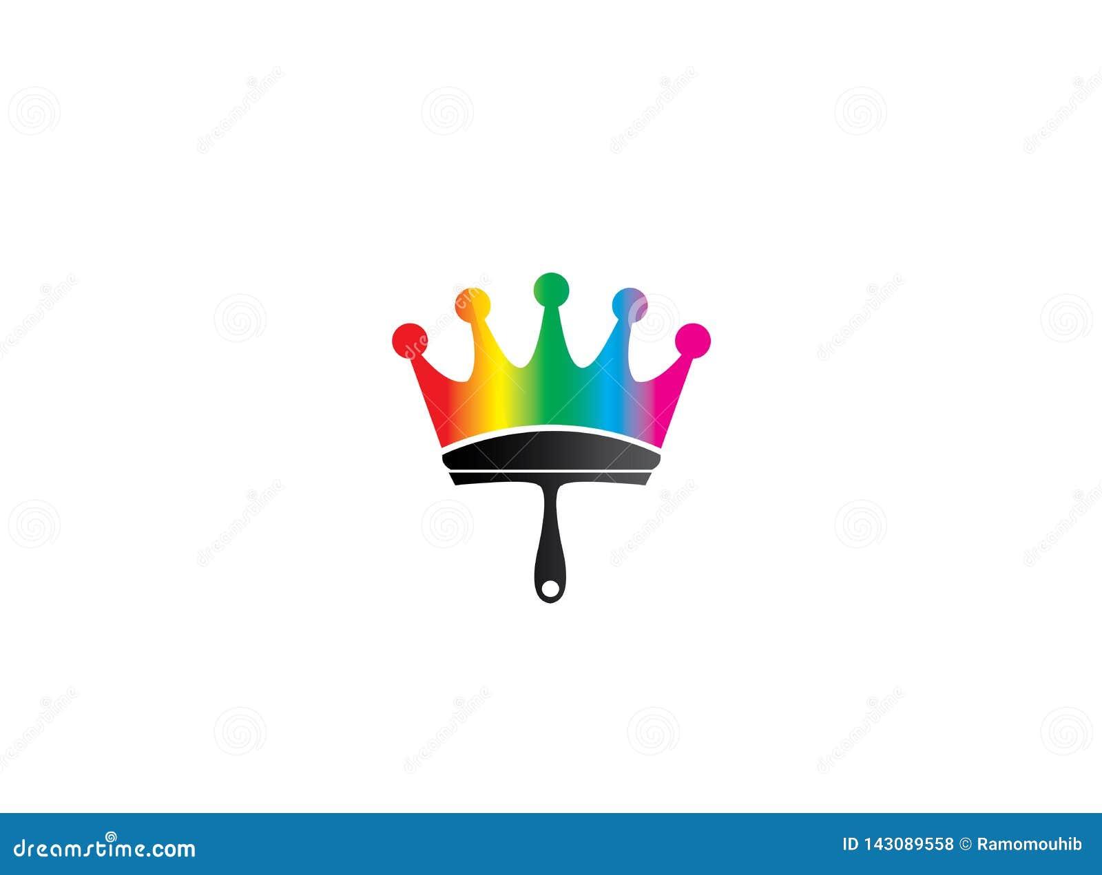 Balayez la peinture comme symbole de couronne avec des multicolors pour la conception de logo