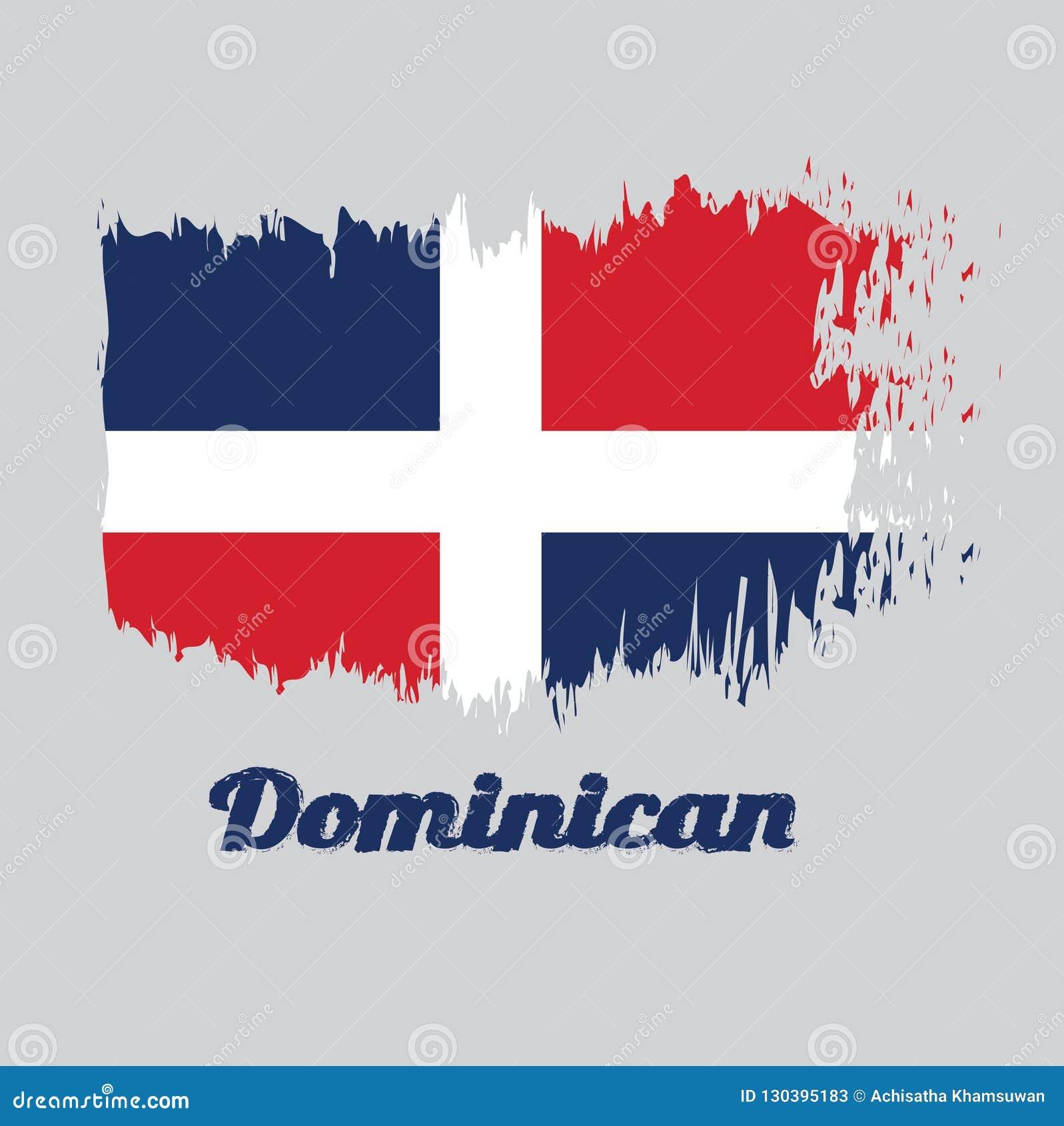 Balayez le drapeau de couleur de style du Dominicain, avec le texte dominicain