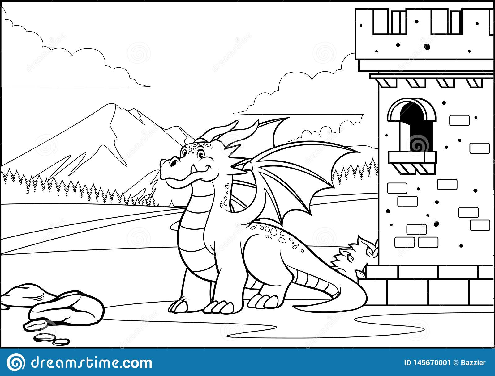 Balck And White Coloring Page Dragon In The Castle With Cartoon ...