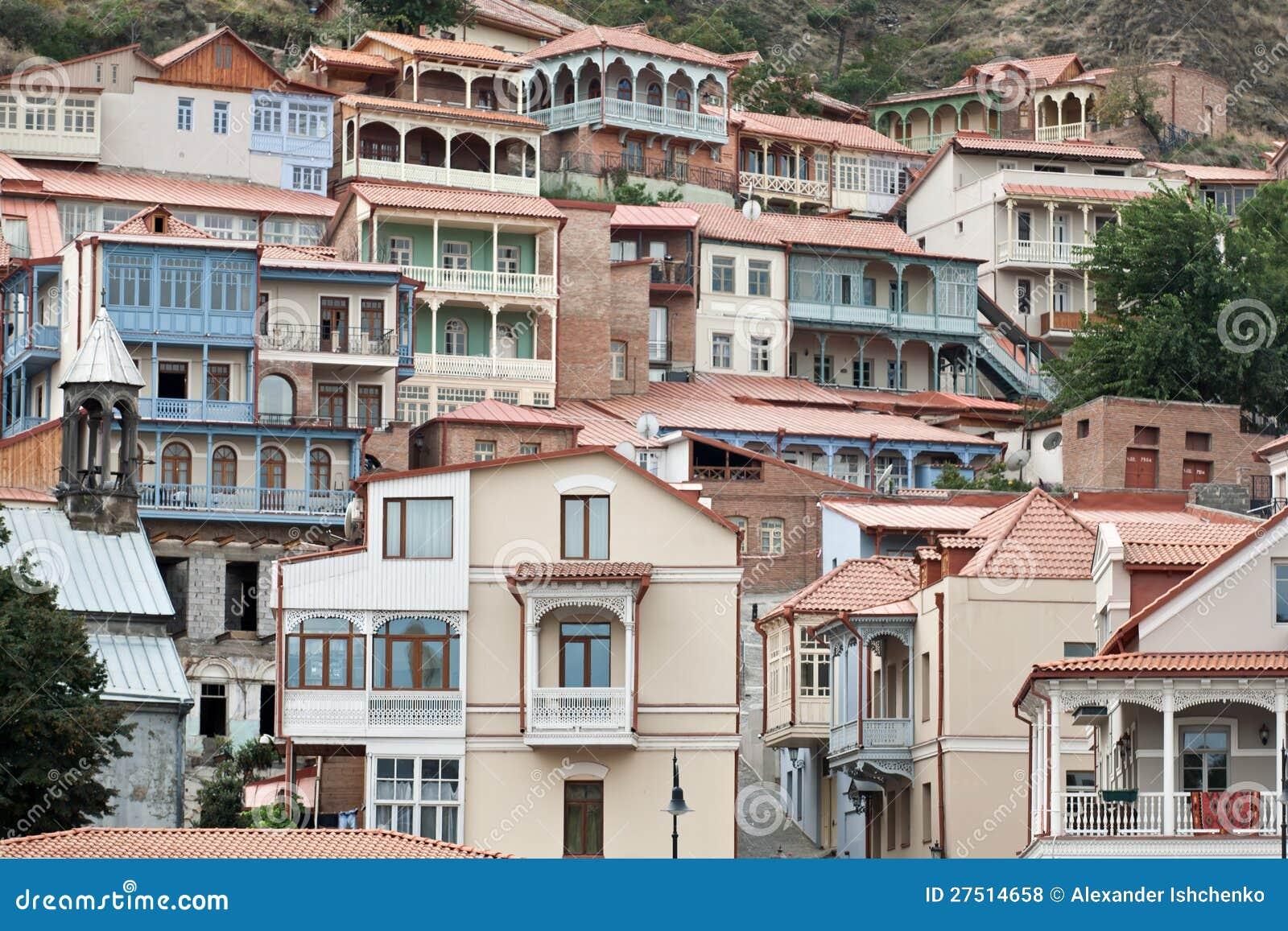 Balcones de madera en tbilisi fotos de archivo libres de - Balcones de madera ...