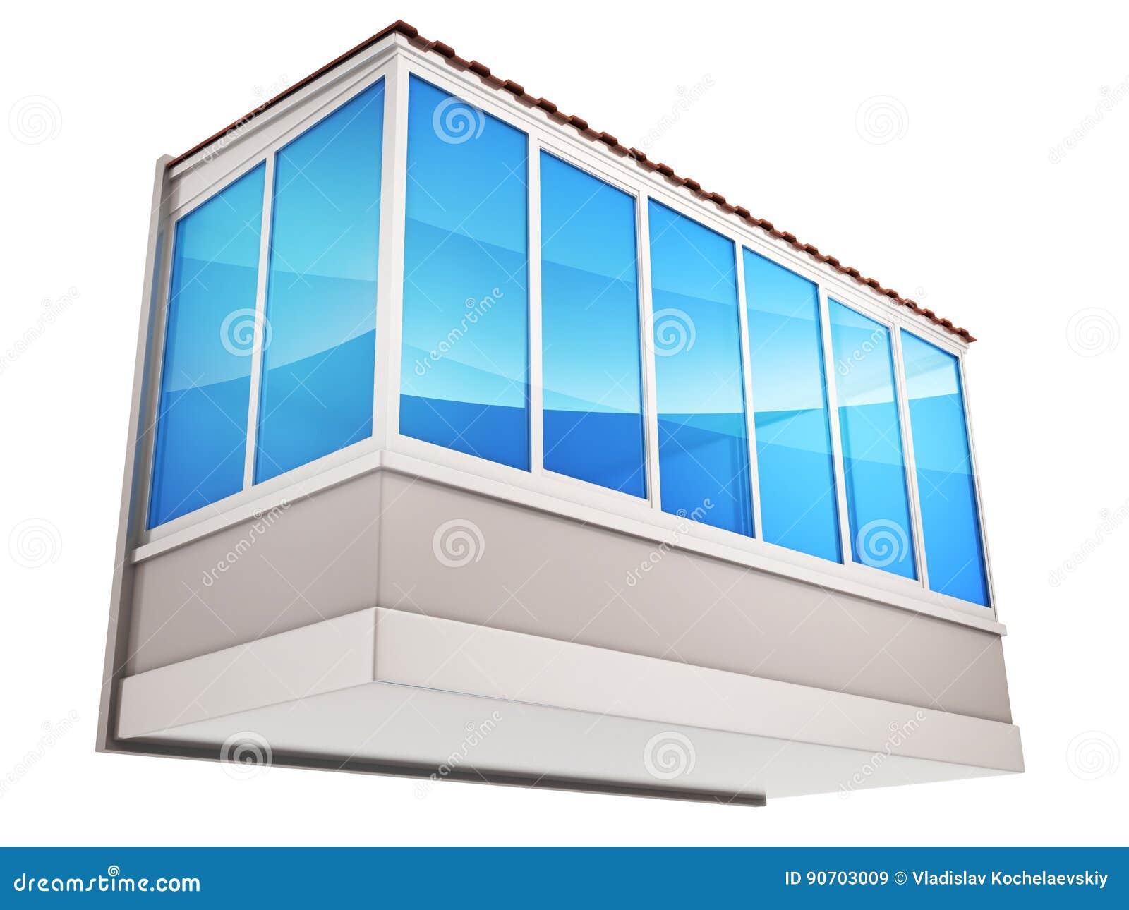 Balcones y vidrio azul stock de ilustración. Ilustración de aislado ...