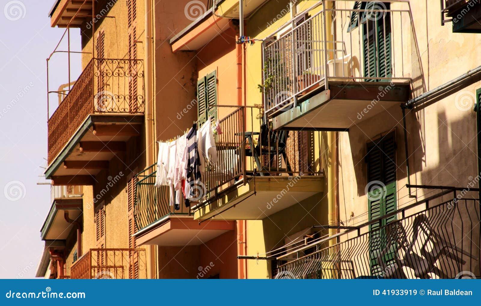 Balconies of buildings in Vernazza, Cinque Terre, Italy