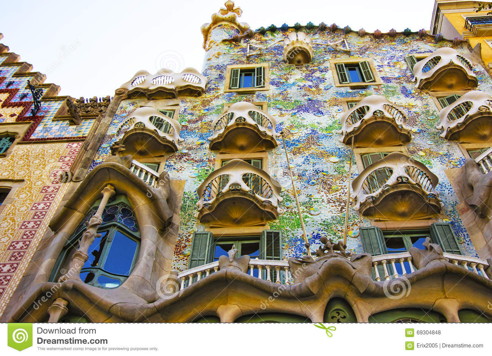 Balconies of Casa Batllo building in Barcelona in Spain