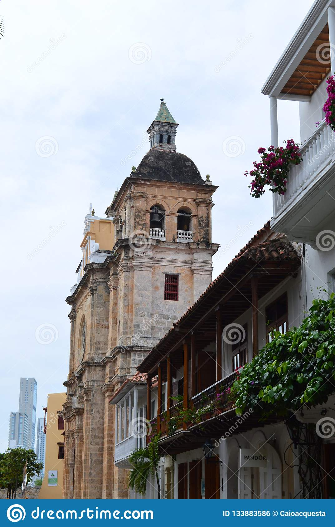 Balconies and church of cartagena