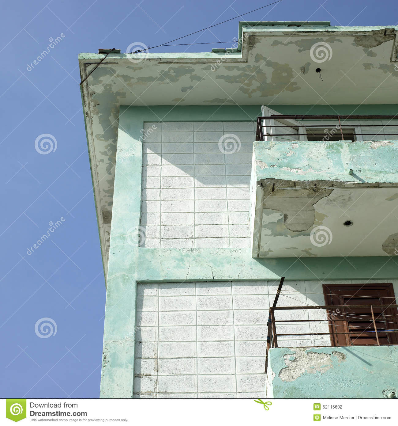 Balconies Of Crumbling Apartment Stock Photo - Image of