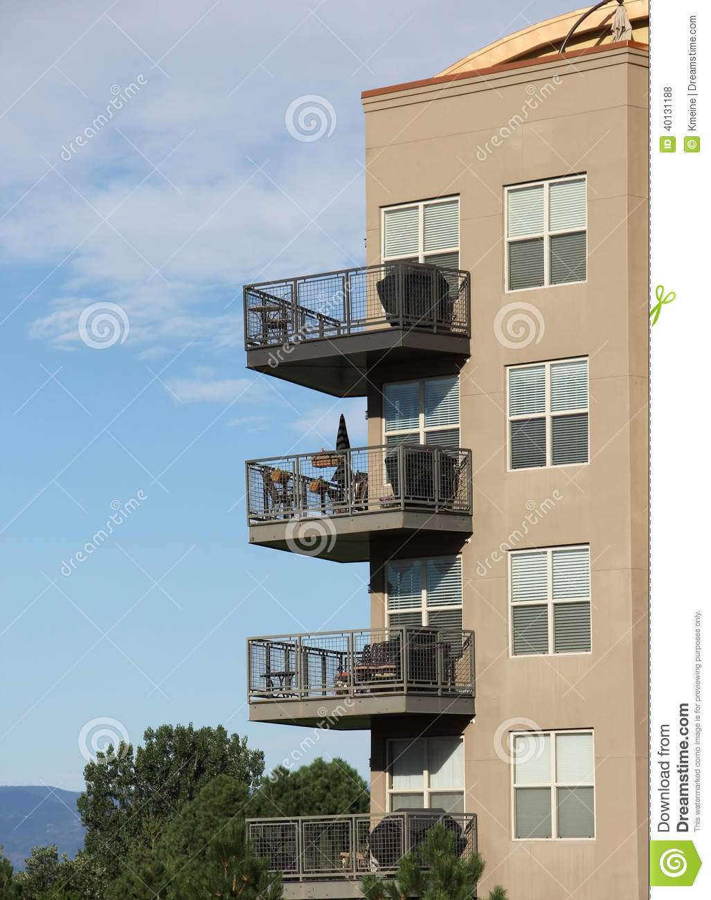 Balconies on modern architecture apartment complex stock for Apartment balcony grill design