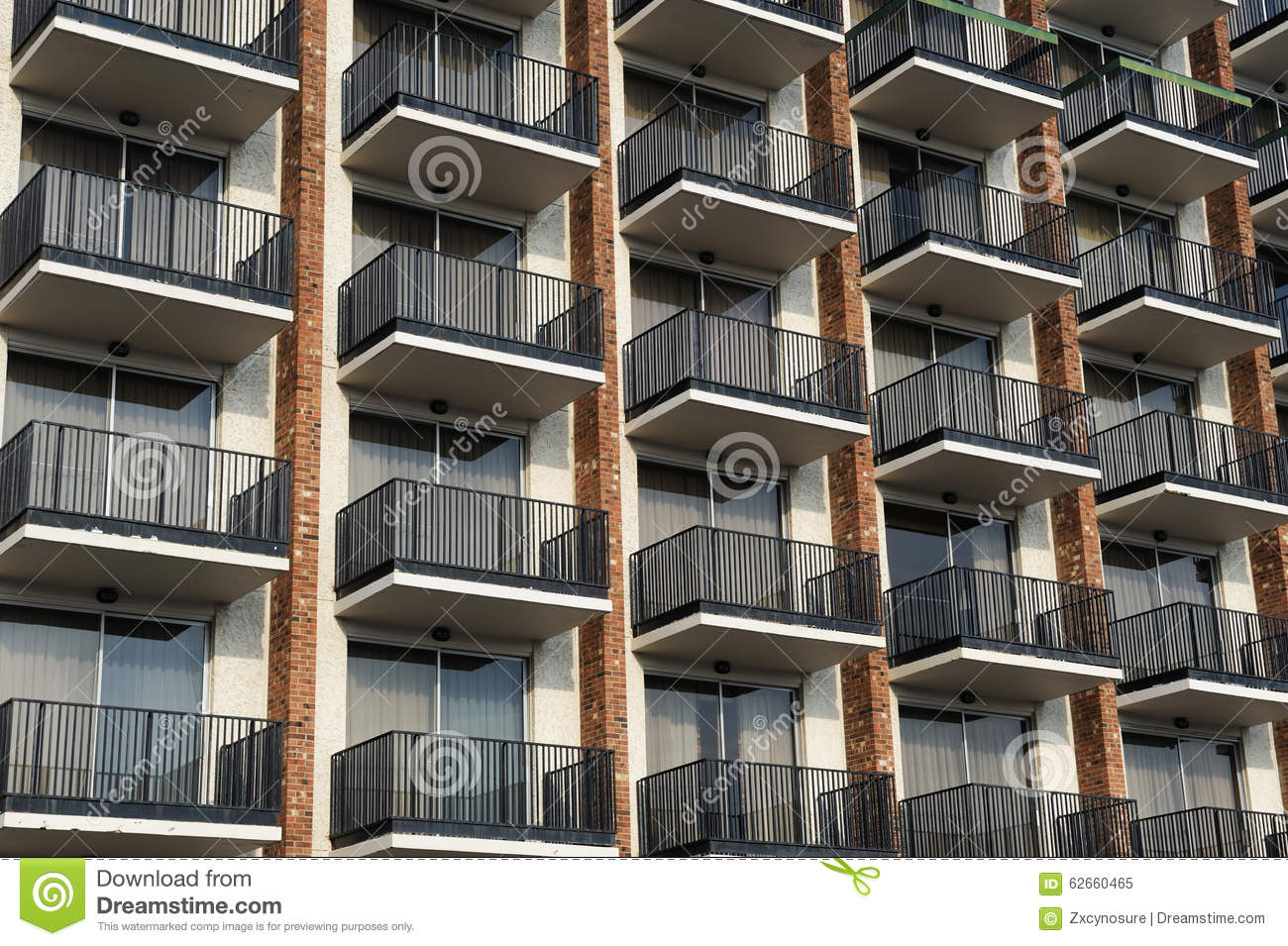 Balconies outside hotel building stock image image 62660465 for Hotels with balconies