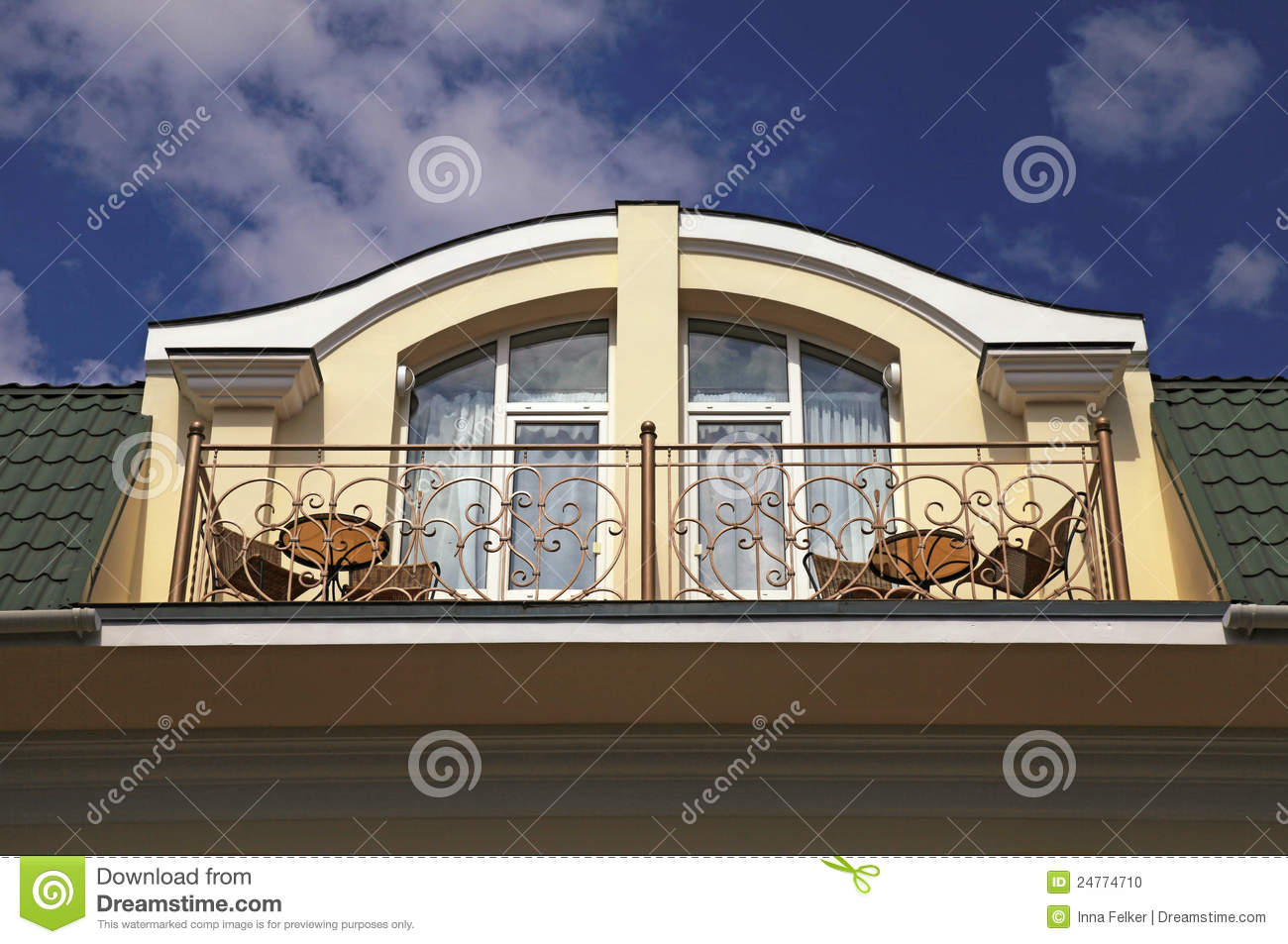 Balcony In Attic Floor Of Luxury Mansion Stock Photo