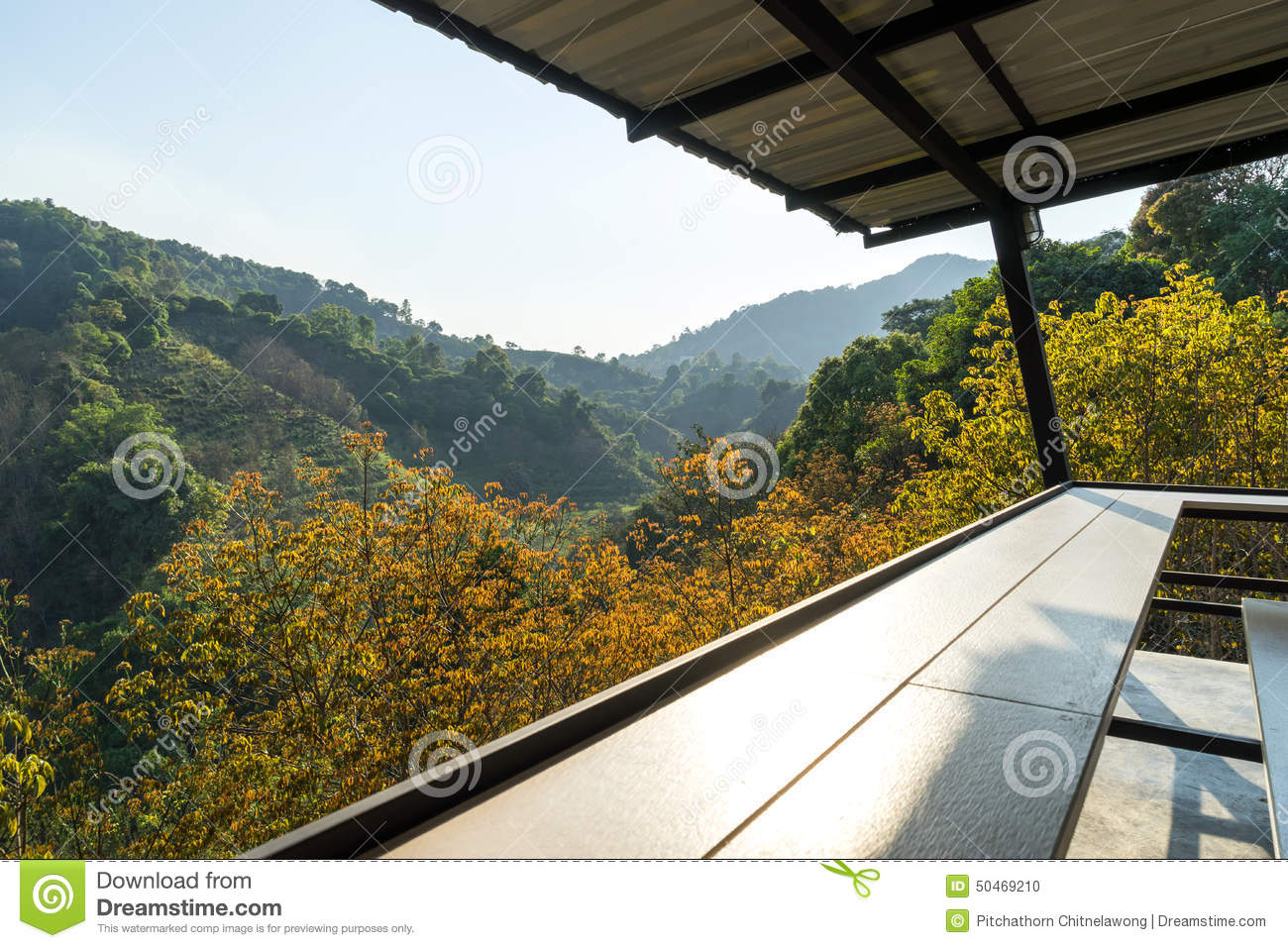 Balcony With Autumn Mountain View In Thailand Stock Photo Image Of