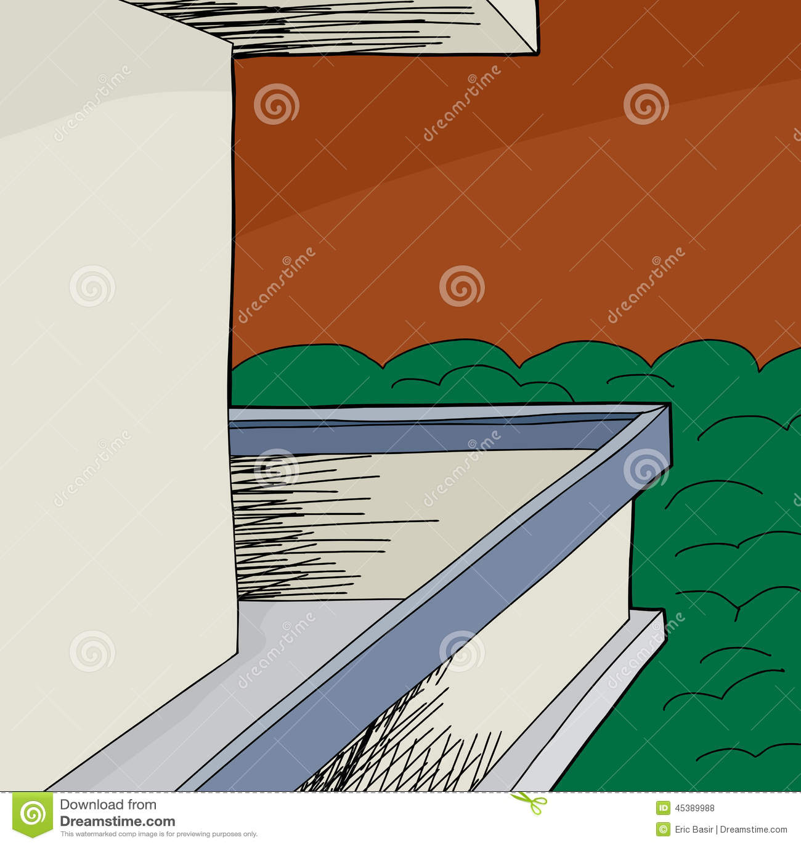 Balcony with blank wall stock vector image of view for Balcony cartoon