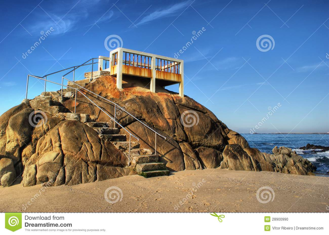 Balcony on a cliff overlooking the Atlantic