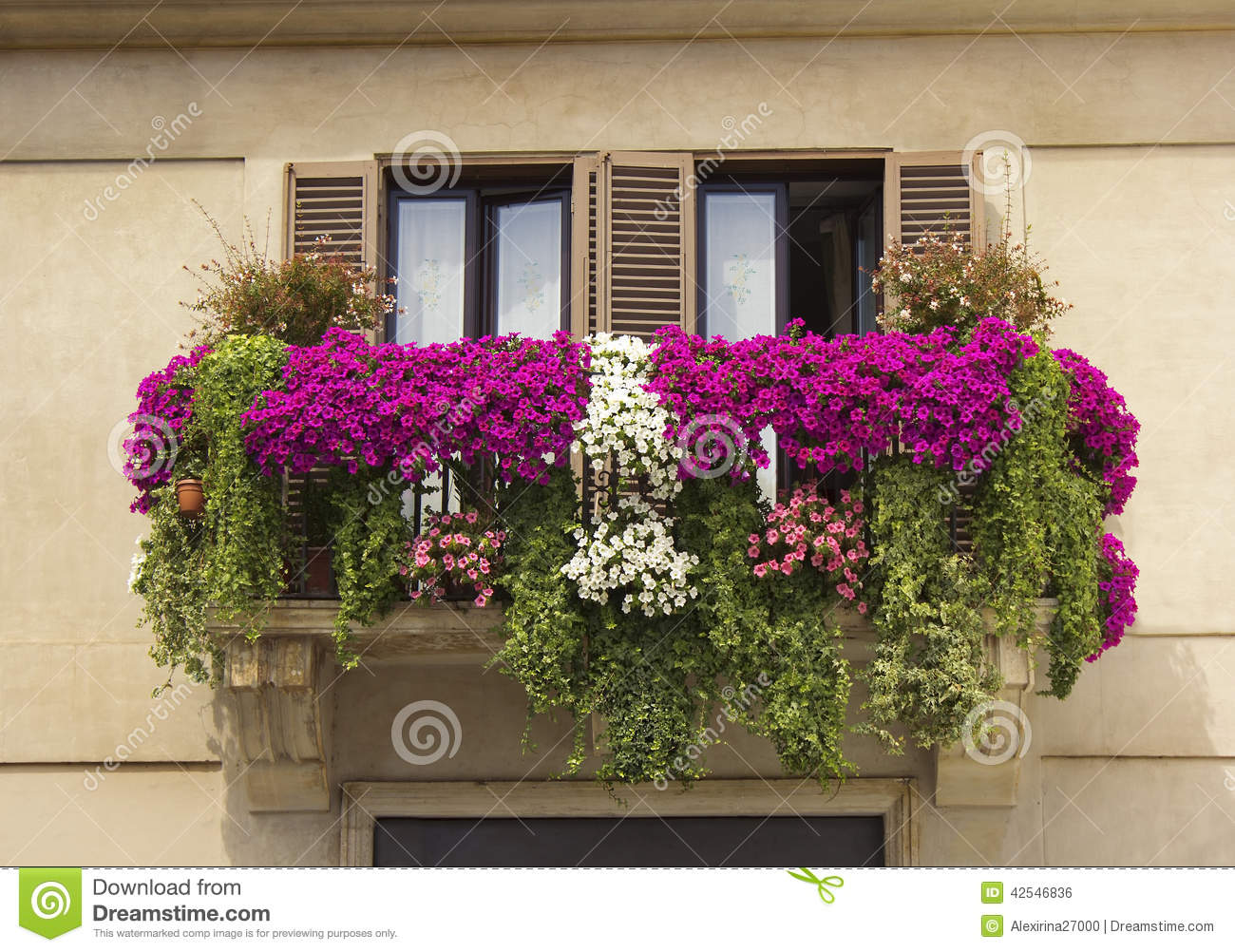 balcony decorated with flowers petunias stock photo image of history plant 42546836. Black Bedroom Furniture Sets. Home Design Ideas