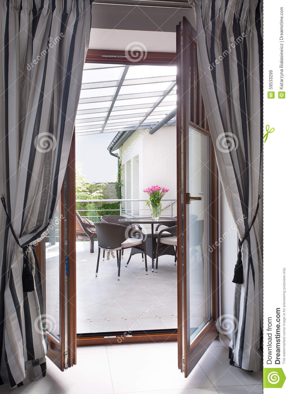Curtain For Balcony: Balcony Door With Curtains Stock Image. Image Of Curtain