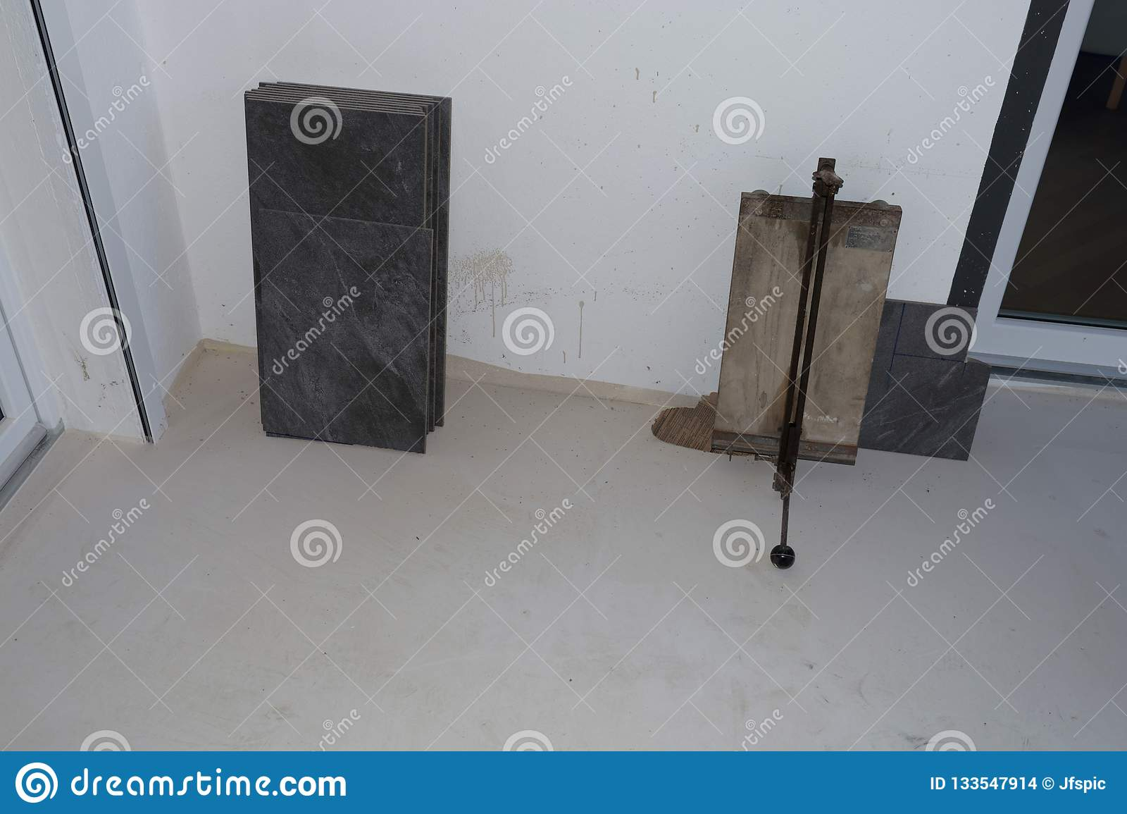 Balcony Floor Tiles Installation Stock Photo - Image of building