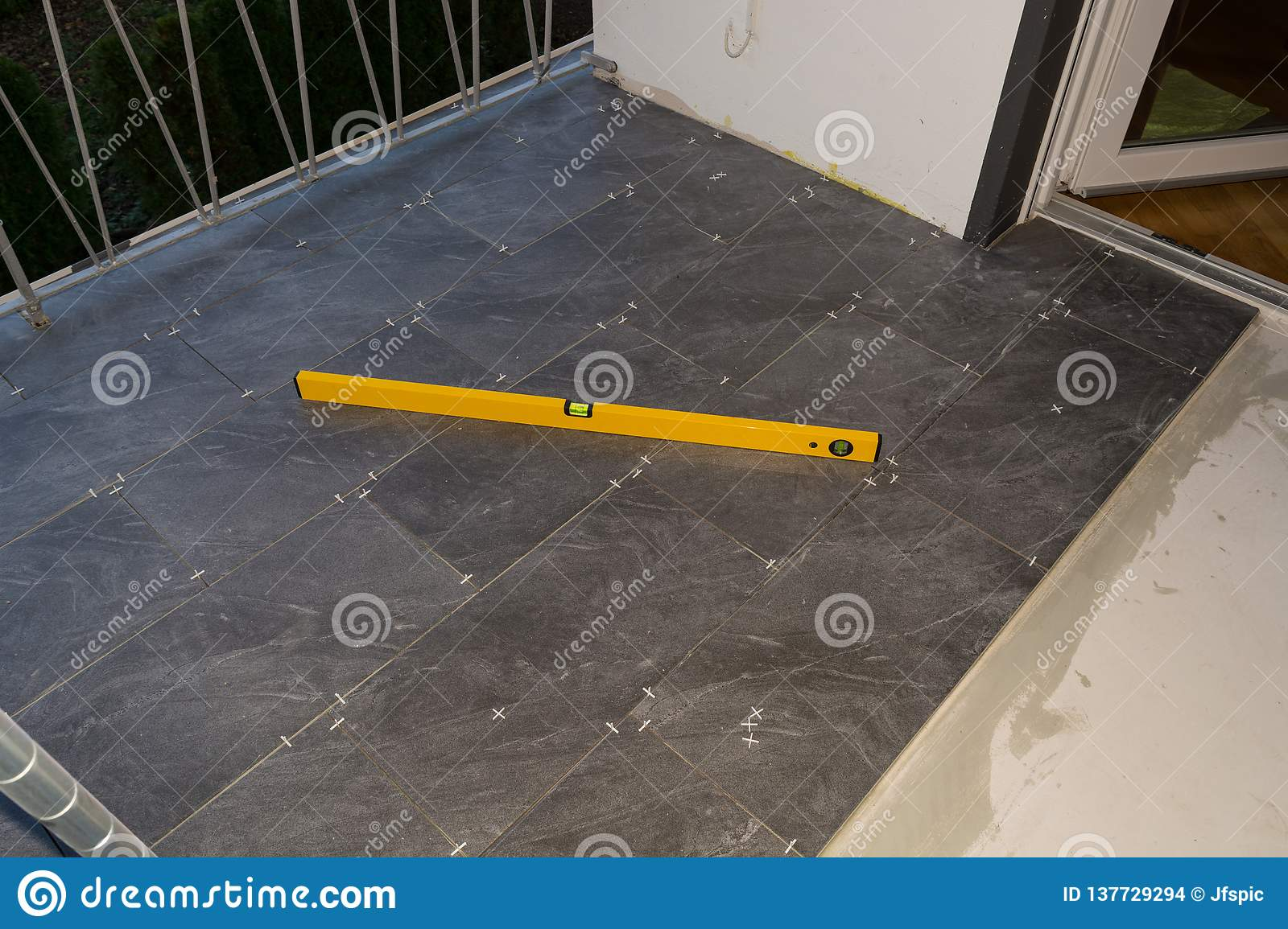 Balcony Floor Tiles Installation Stock Photo Image Of Concrete