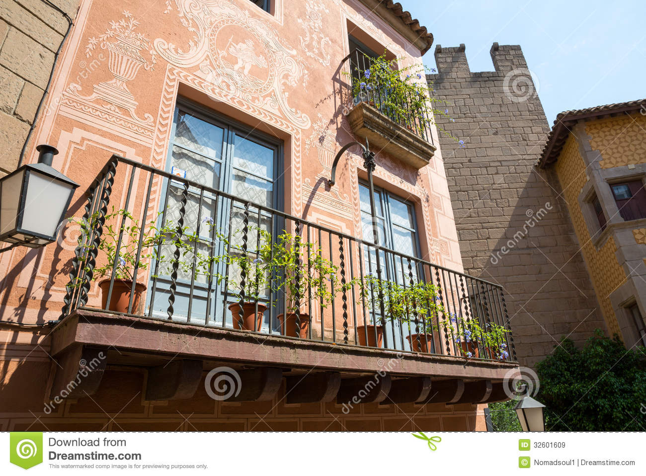 Small balcony on spanish building royalty free stock image for Balcony in spanish