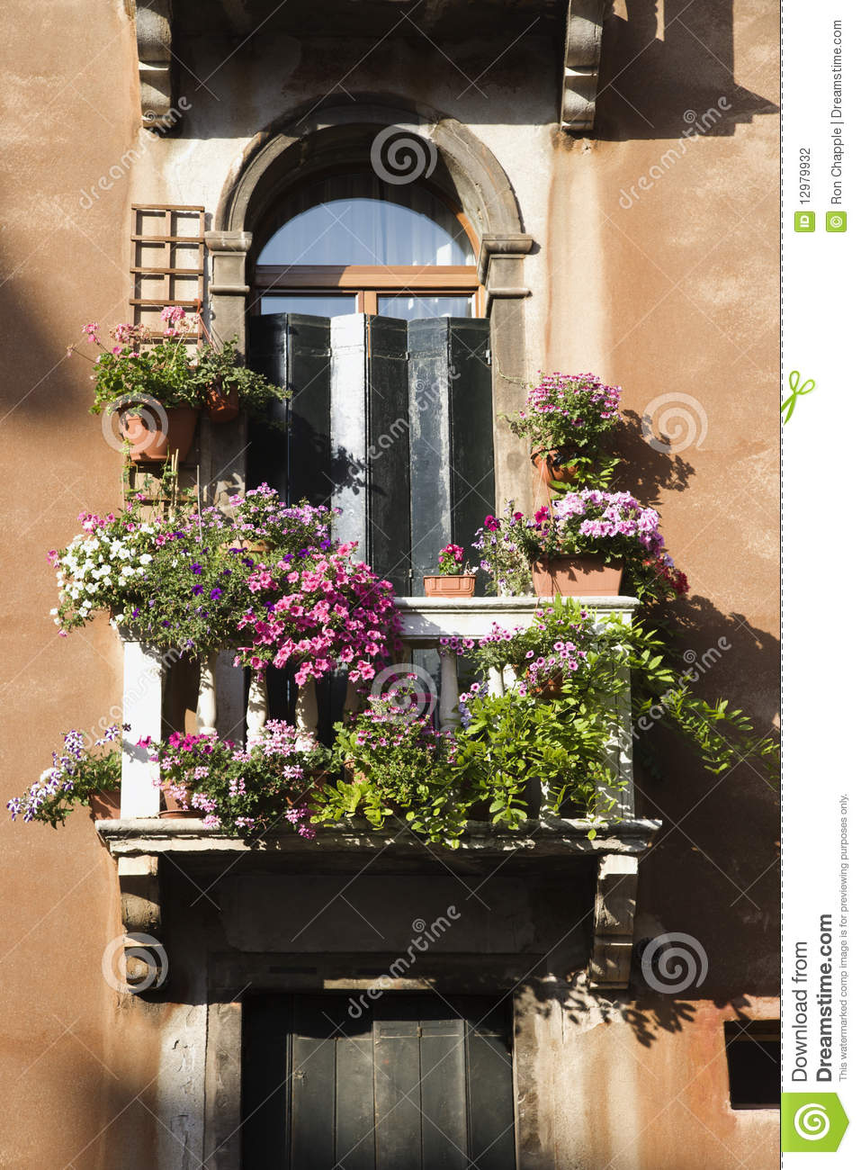 Balcony and flowers stock photography image 12979932 for Balcony flowers