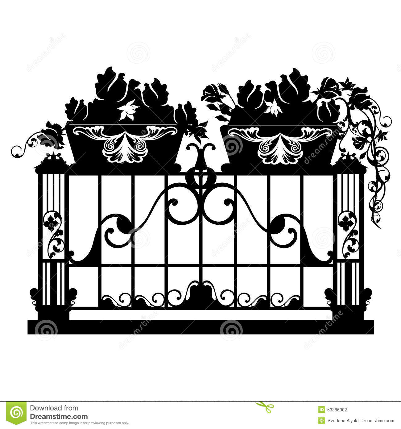 Balcony flowers stock vector image of exterior graphic