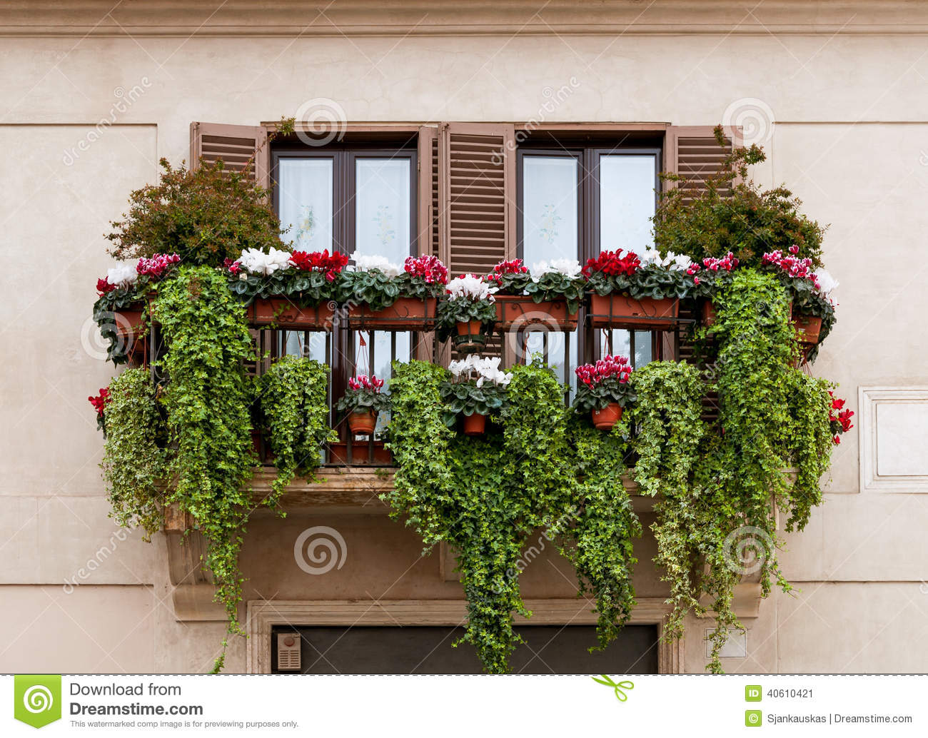 Balcony With Flowers Stock Photo Image 40610421
