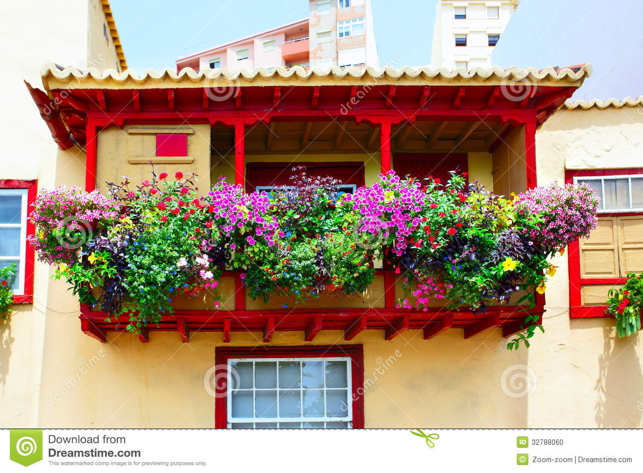 Balcony with flowers stock photo image 32788060 for Balcony flowers