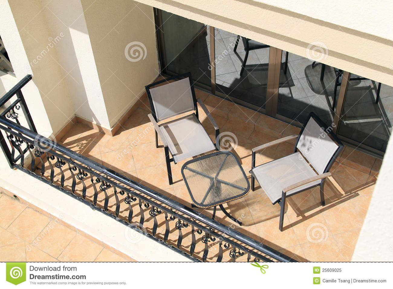 Balcony with furniture royalty free stock photo image for Balcony clipart