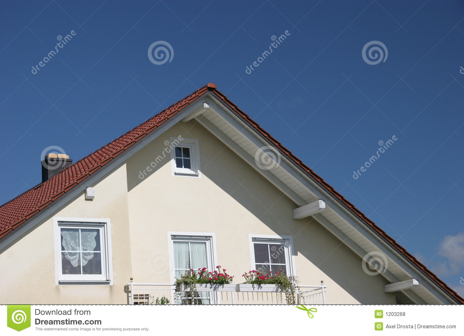 Balcony and gable on house