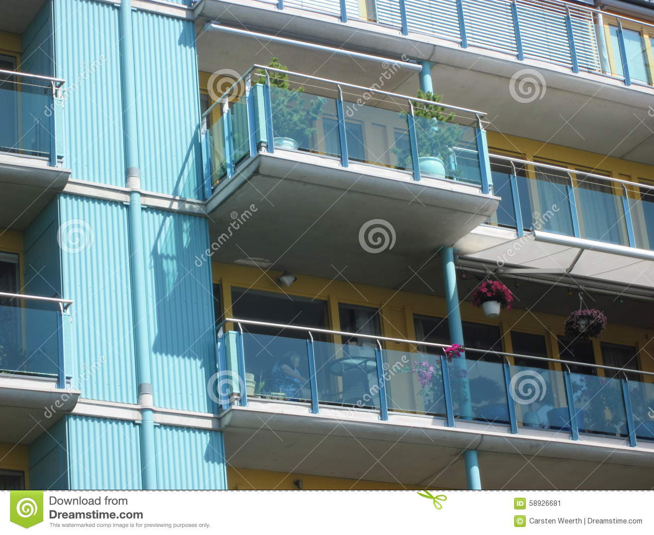 Balcony with glass front and plants detail stock photo for Balcony with glass