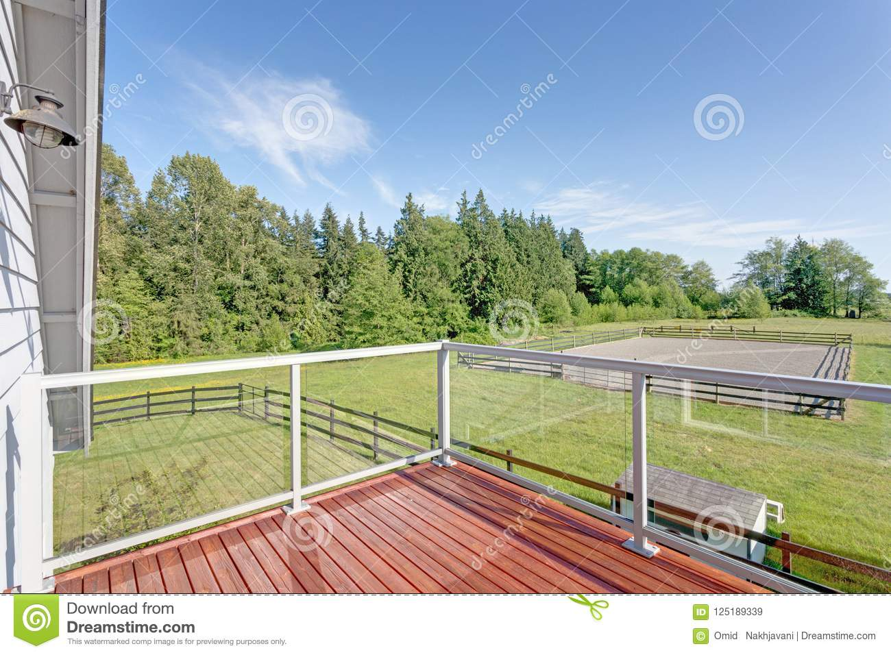 Balcony interior with picturesque view of the backyard.