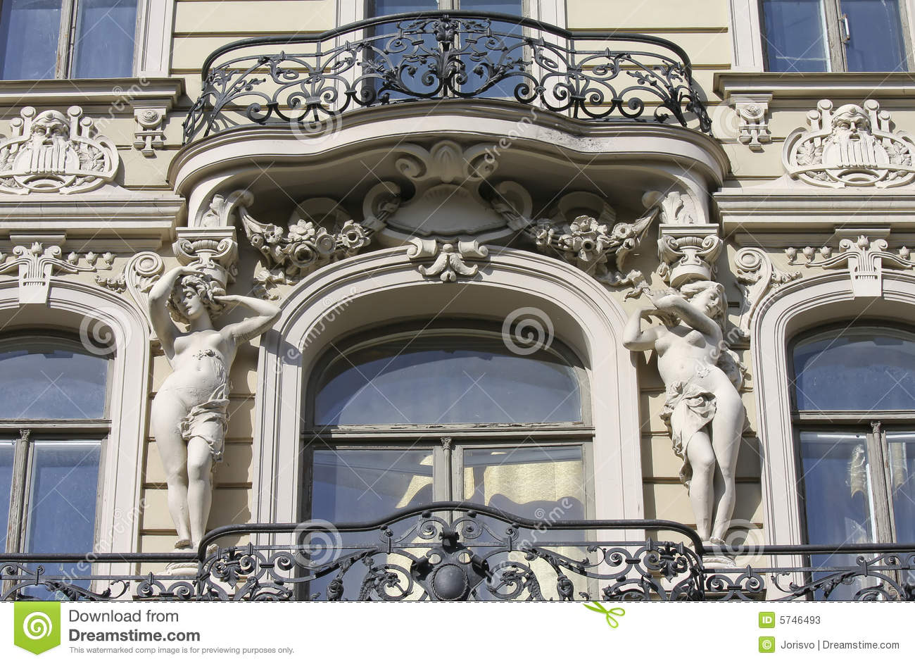 balcony on jugendstil house in riga stock photos image. Black Bedroom Furniture Sets. Home Design Ideas