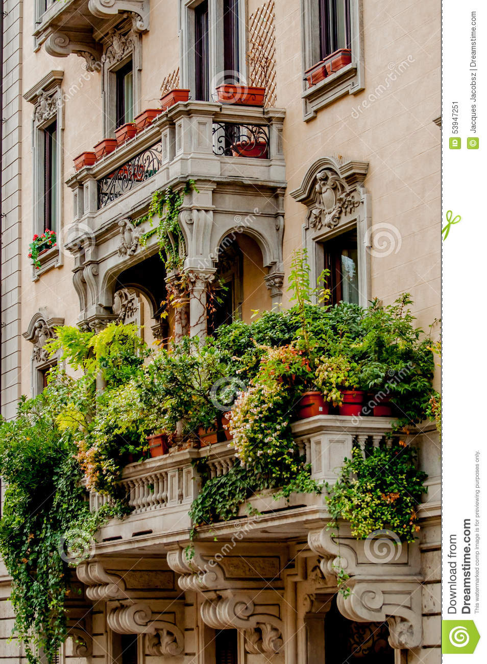 Balcony with jungle of plants stock image image 53947251 for Balcony jungle