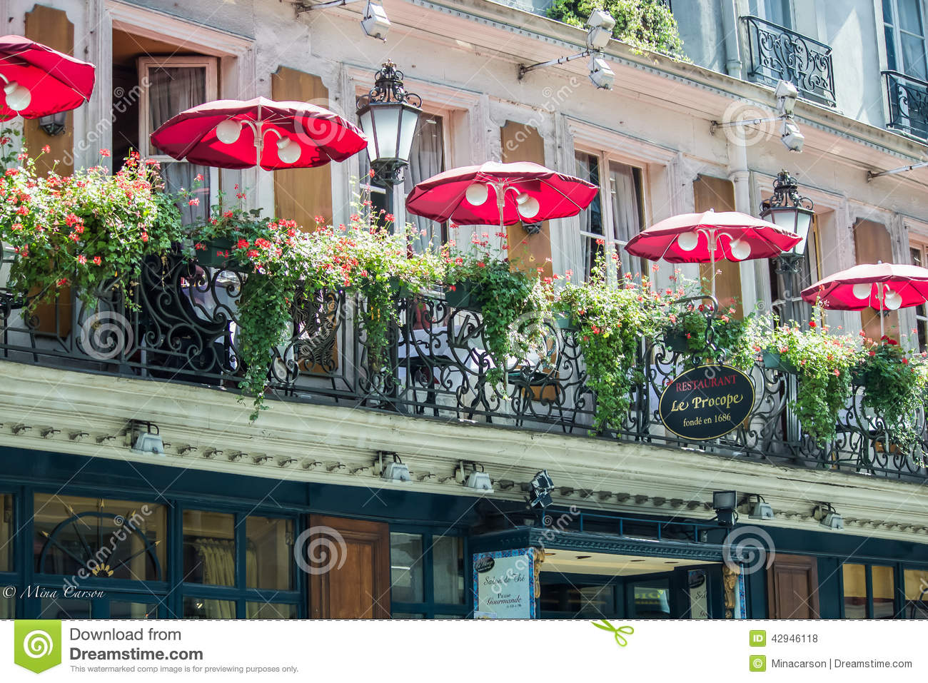Balcony of le procope old restaurant in paris with red for The balcony cafe