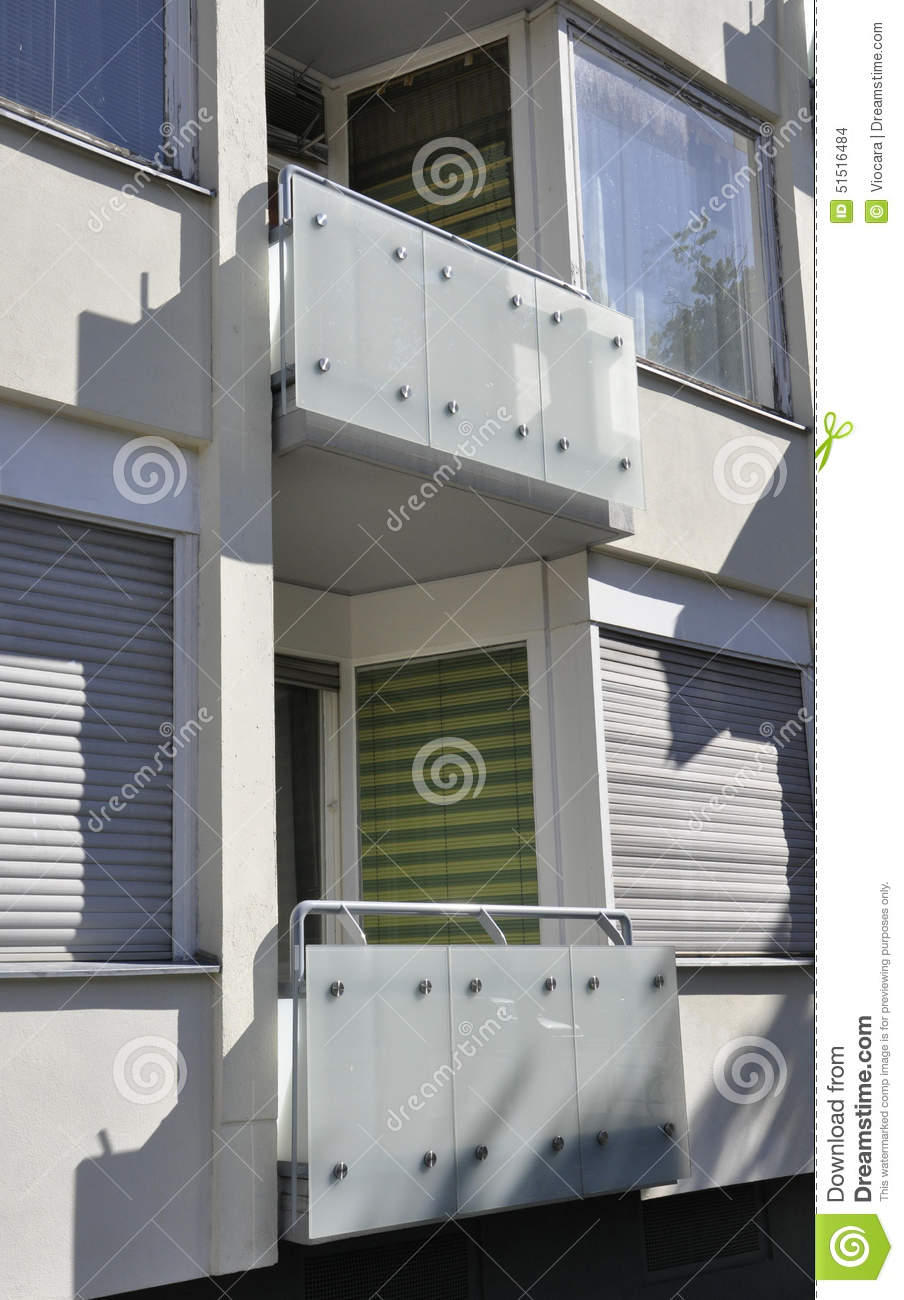 Balcony Of Modern Apartment Building From Berlin In Germany Stock