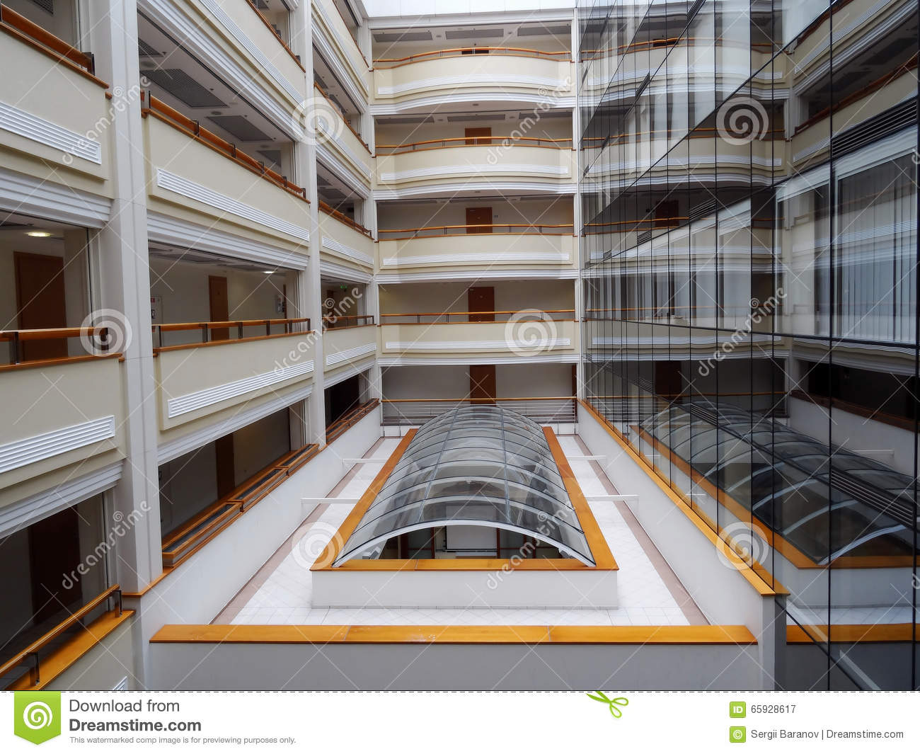 balcony in multi-storey hotel interior stock photo - image: 65928617