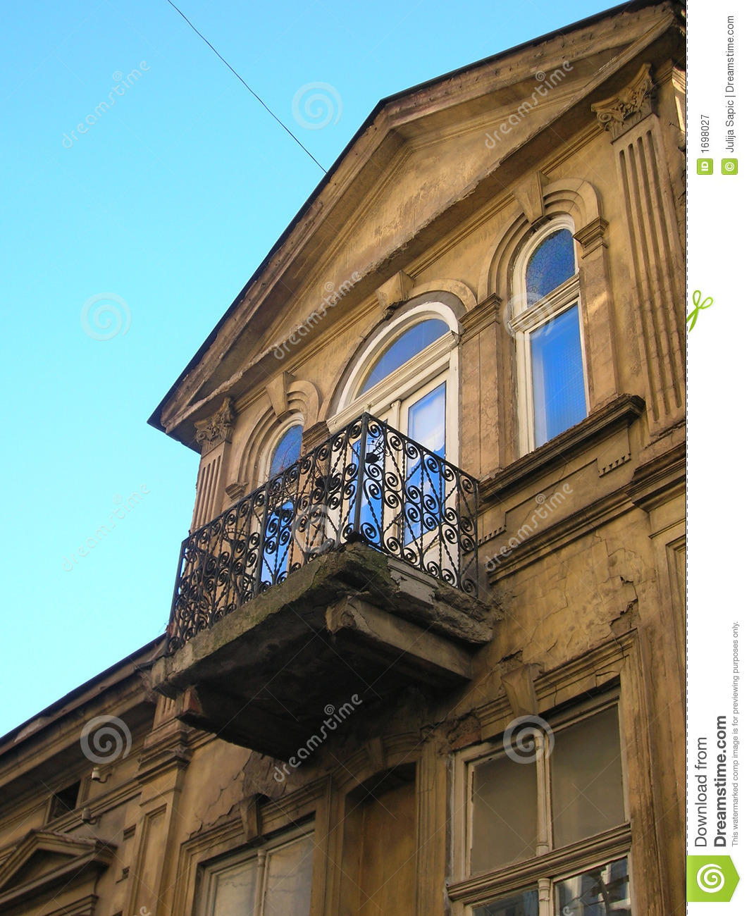Balcony on old building royalty free stock photography for Building balcony