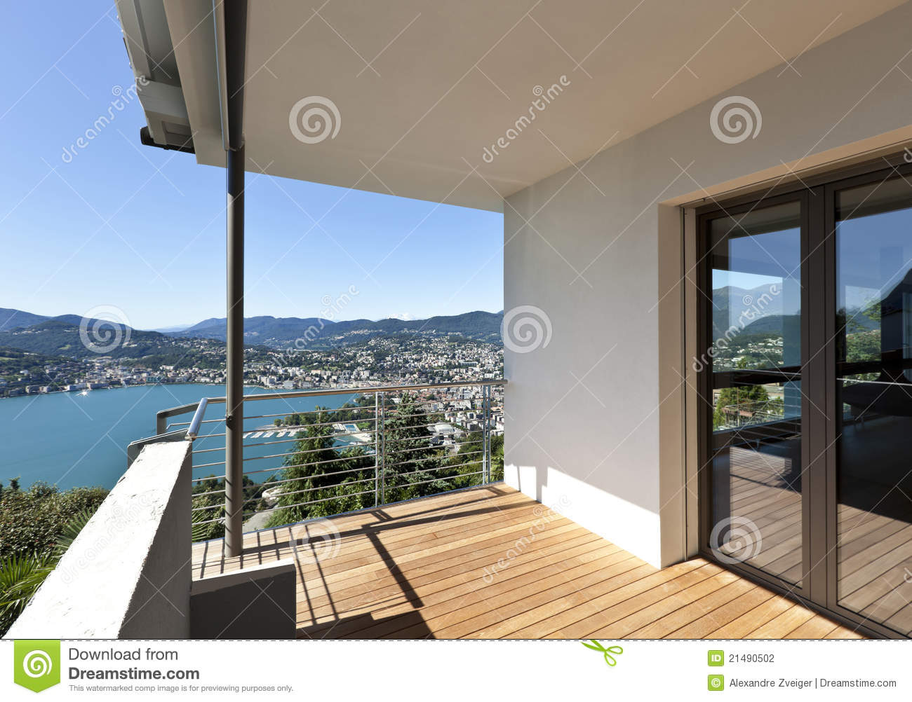 Balcony overlooking the lake stock photography image for Balcony overlooking city