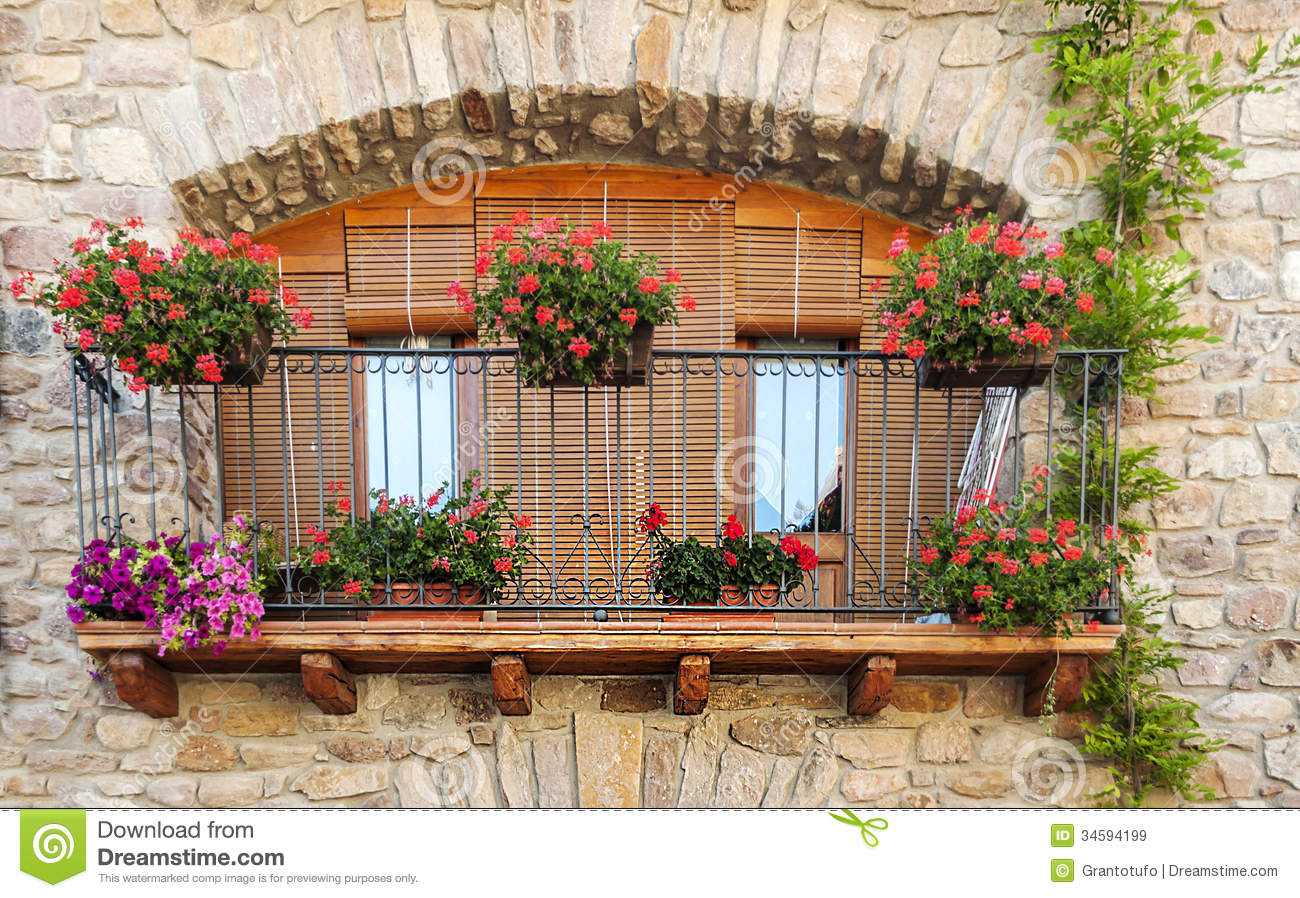 Balcony with pots stock image image of lockout spain for Balcony in spanish