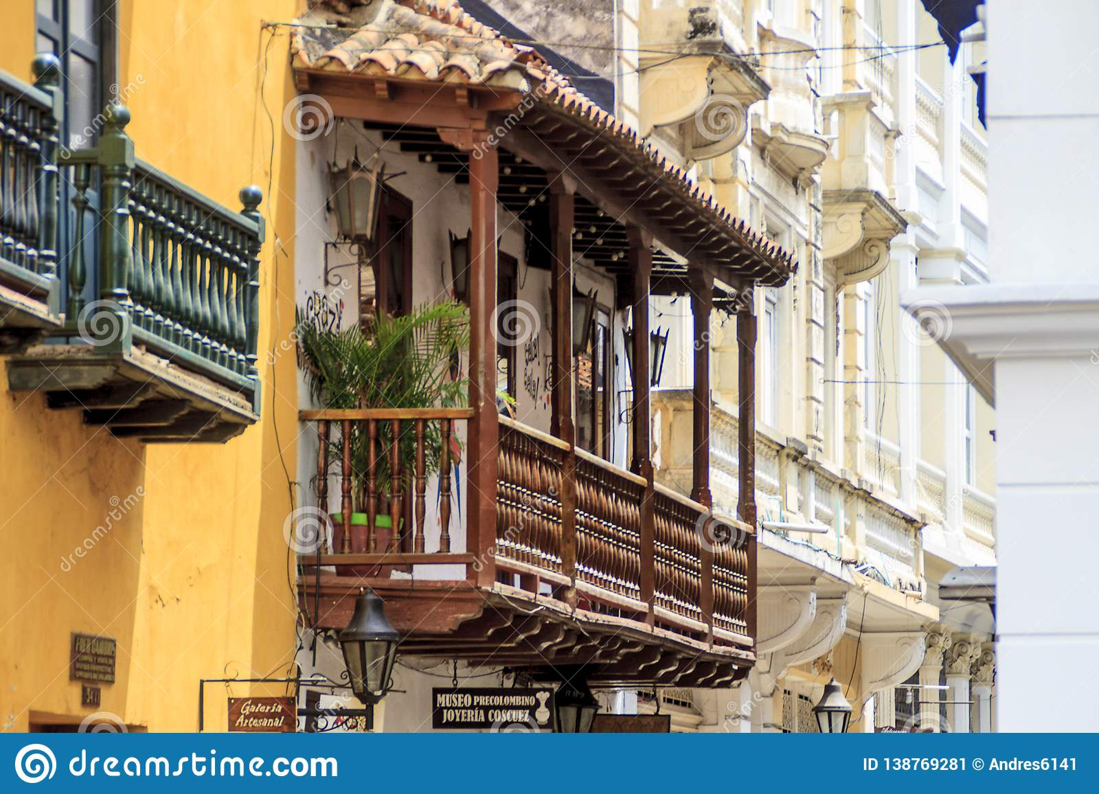 Balcony View In Cartagena Colombia Editorial Photo Image Of