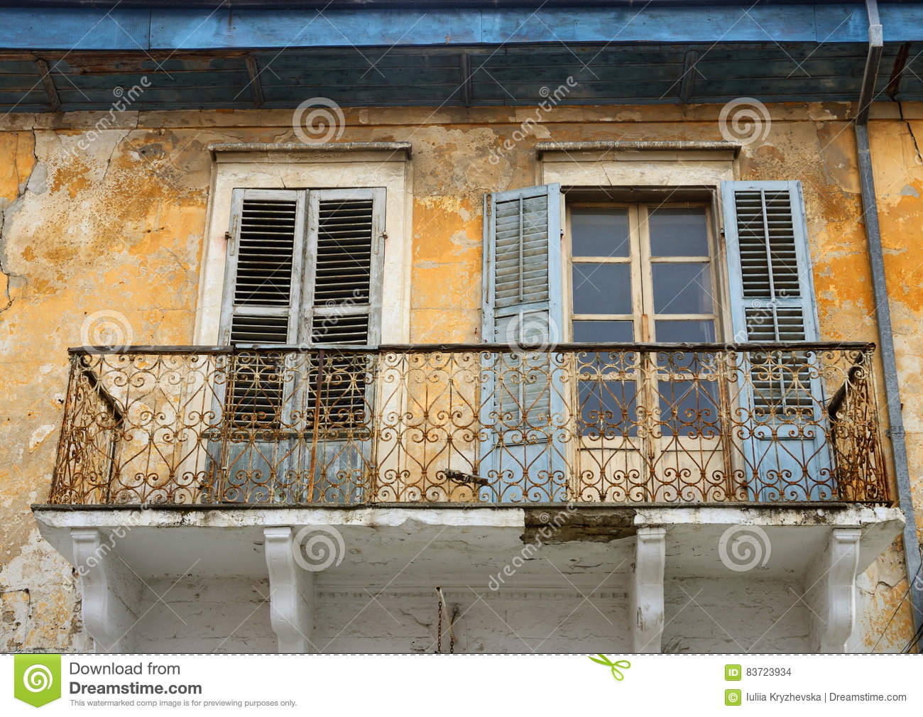 Balcony And Windows With Shutters Of Old House In Limassol