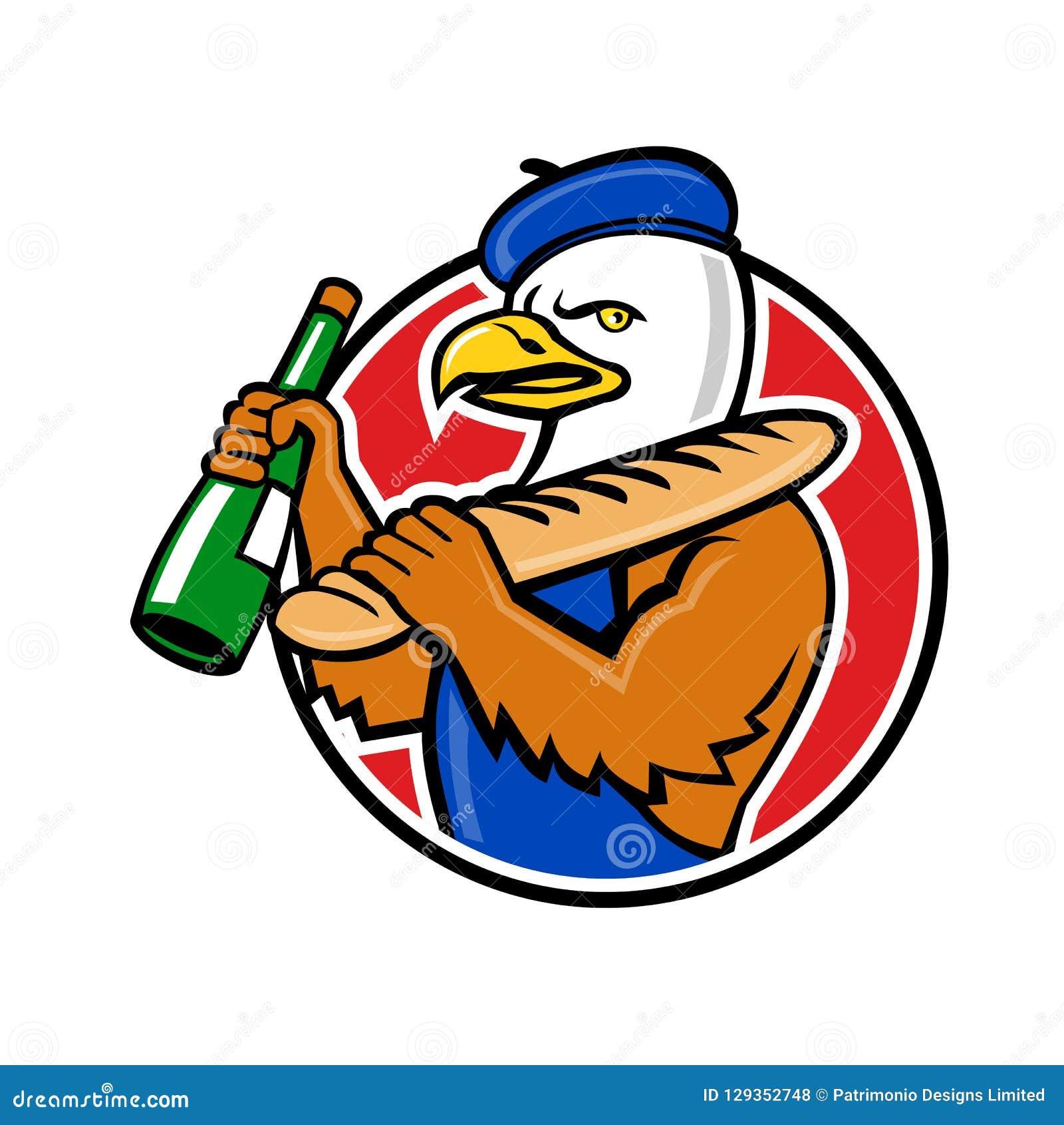 Bald Eagle Baguette Wine Circle Mascot Stock Vector