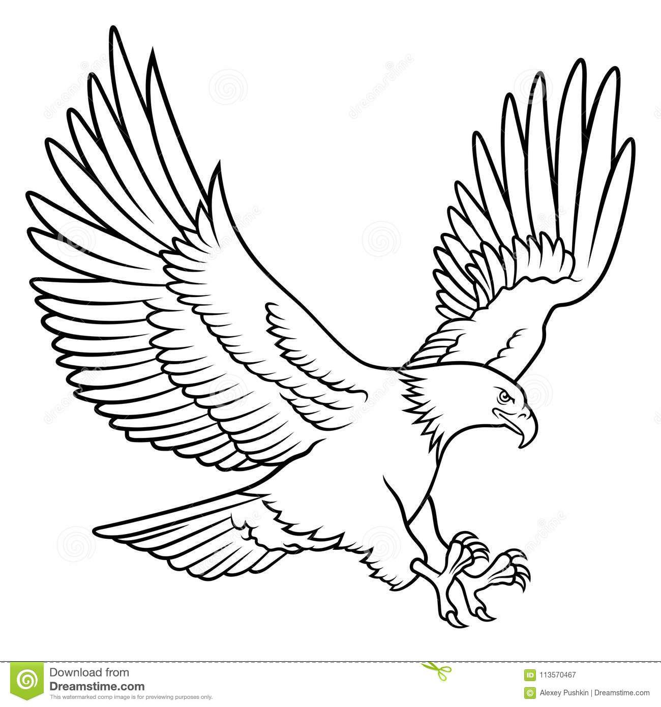 Bald eagle silhouette isolated on white hand drawn sketch of an american eagle this vector illustration can be used as a print on t shirts tattoo element